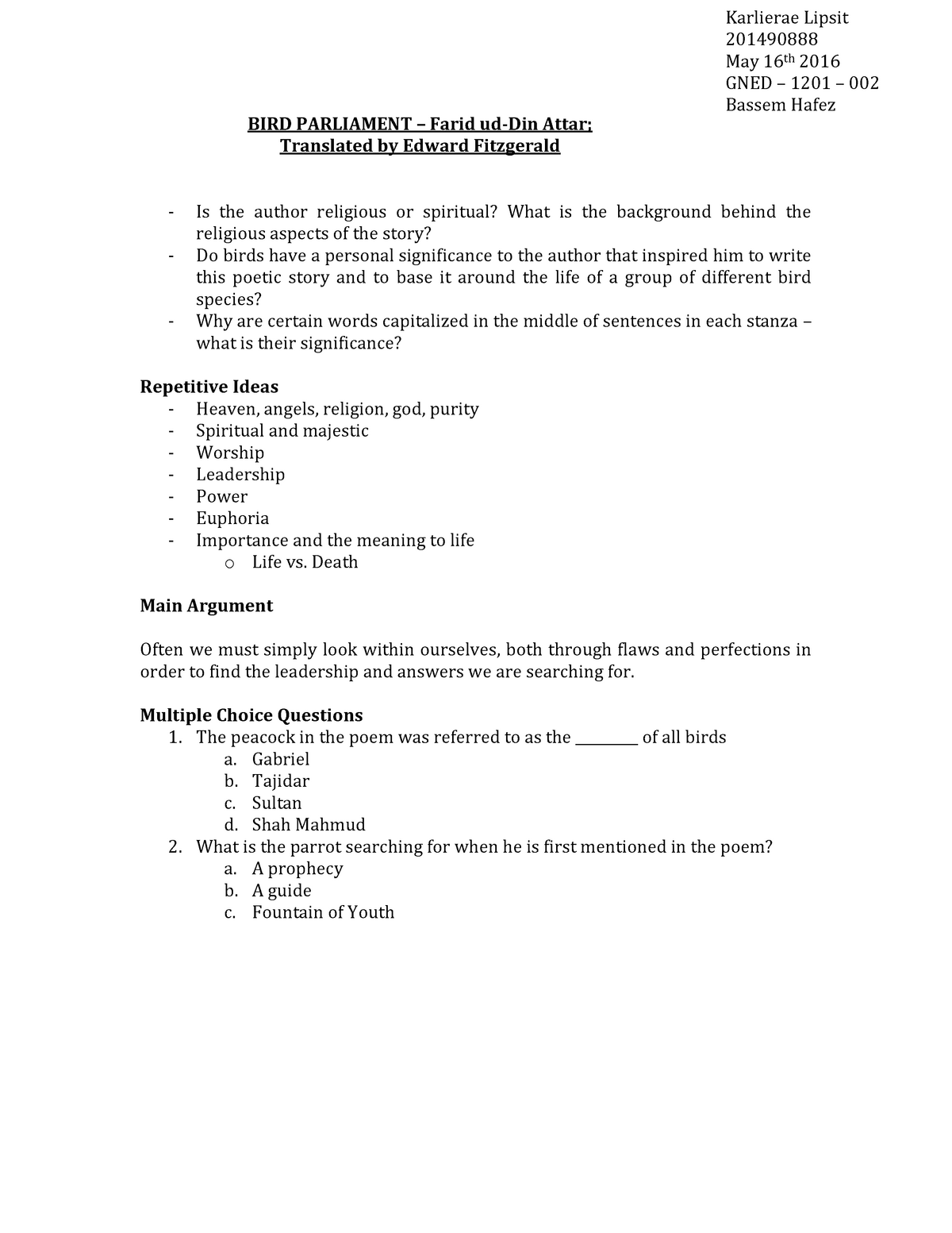 Summary Conference of the Birds - Lecture notes - Gned 1201
