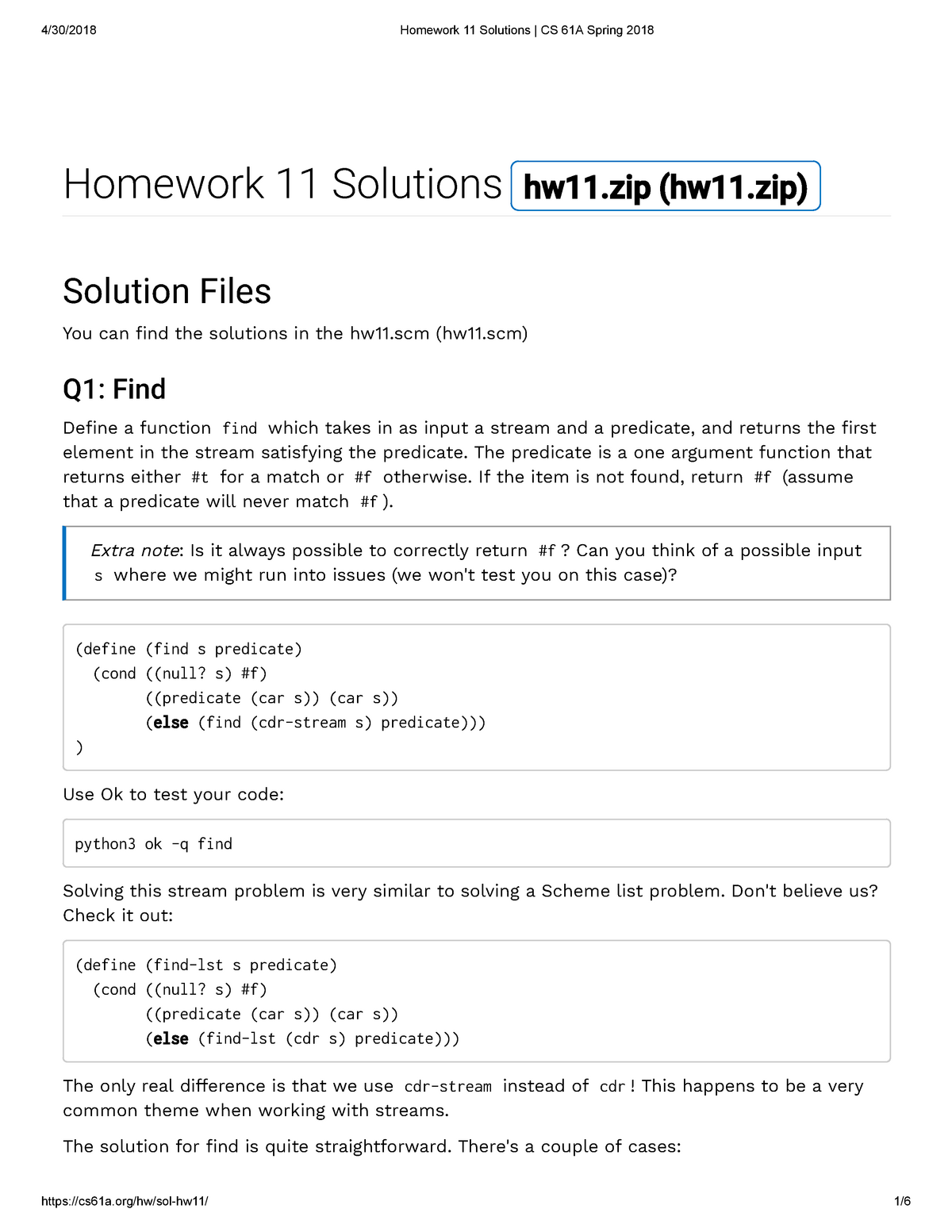 Homework 11 Solutions CS 61A Spring 2018 - COMPSCI 61A: The