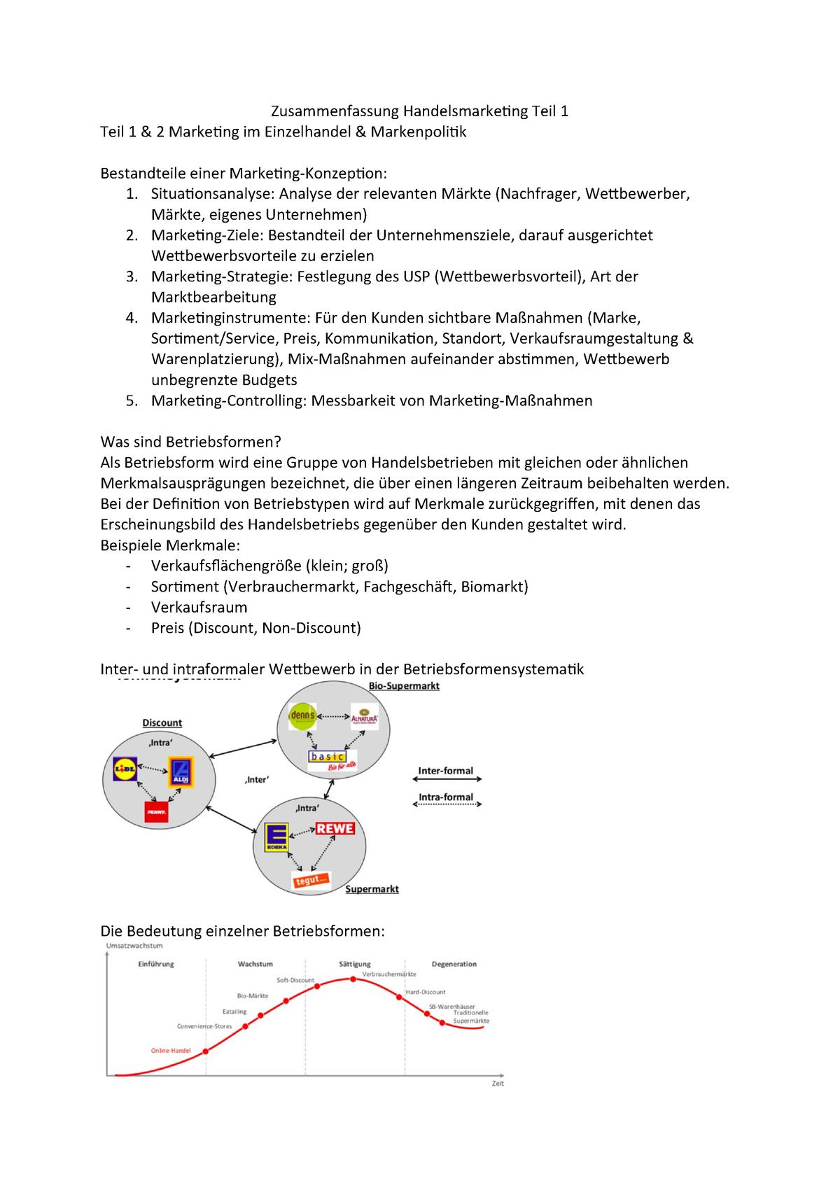 Zusammenfassung Handelsmarketing Grundlagen Bwl Studocu