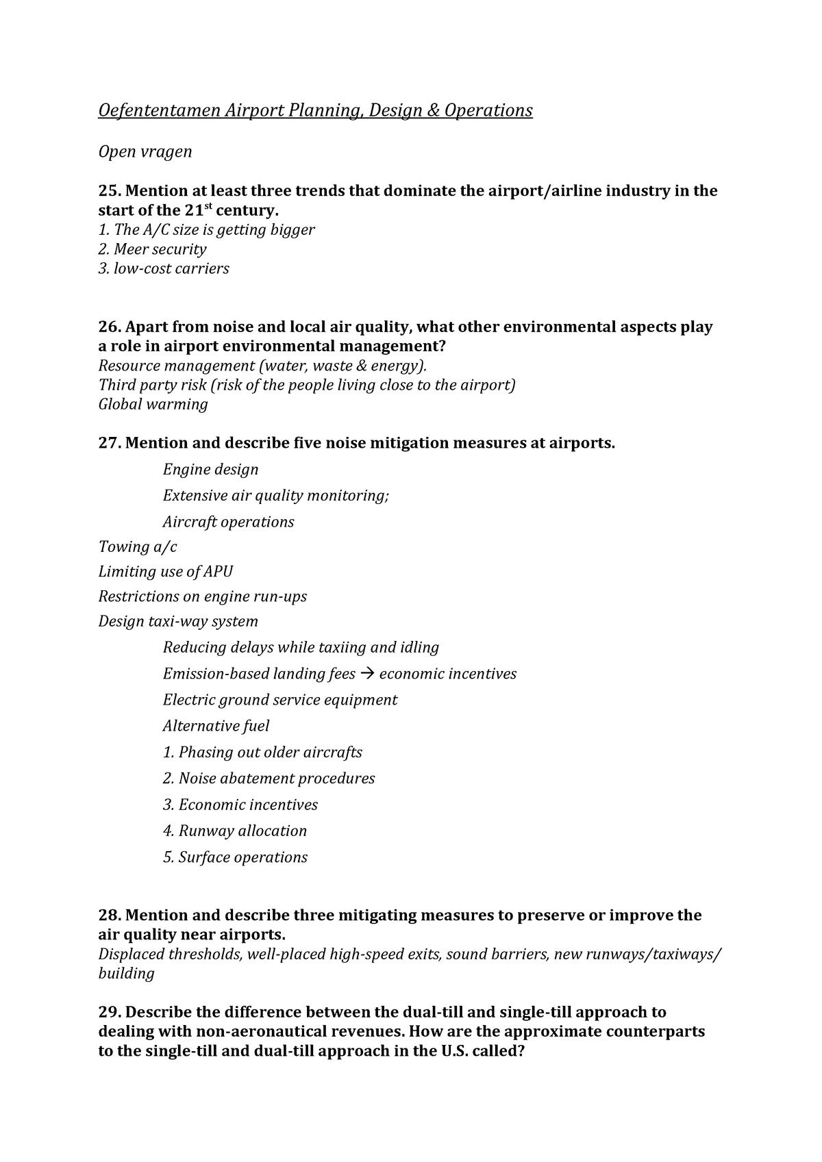 Oefententamen Airport Planning - AE3502-14: Airport Planning, Design
