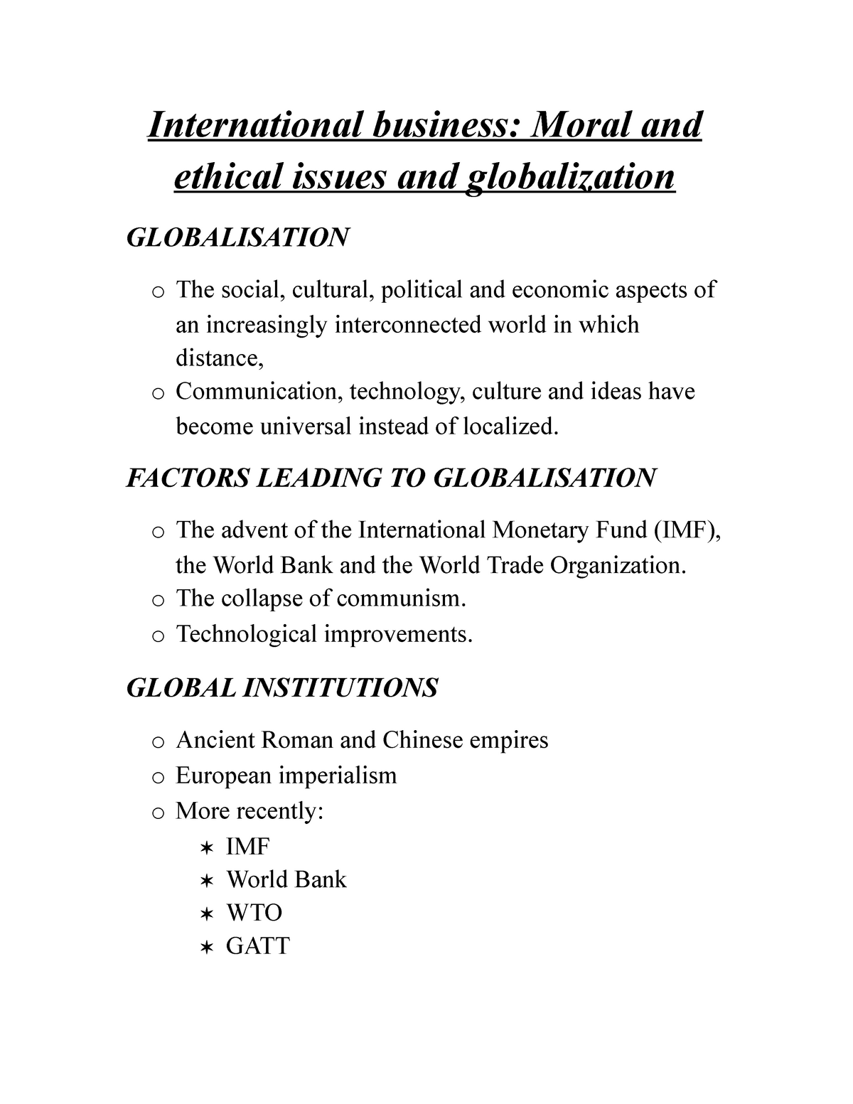 International business- Moral and ethical issues and