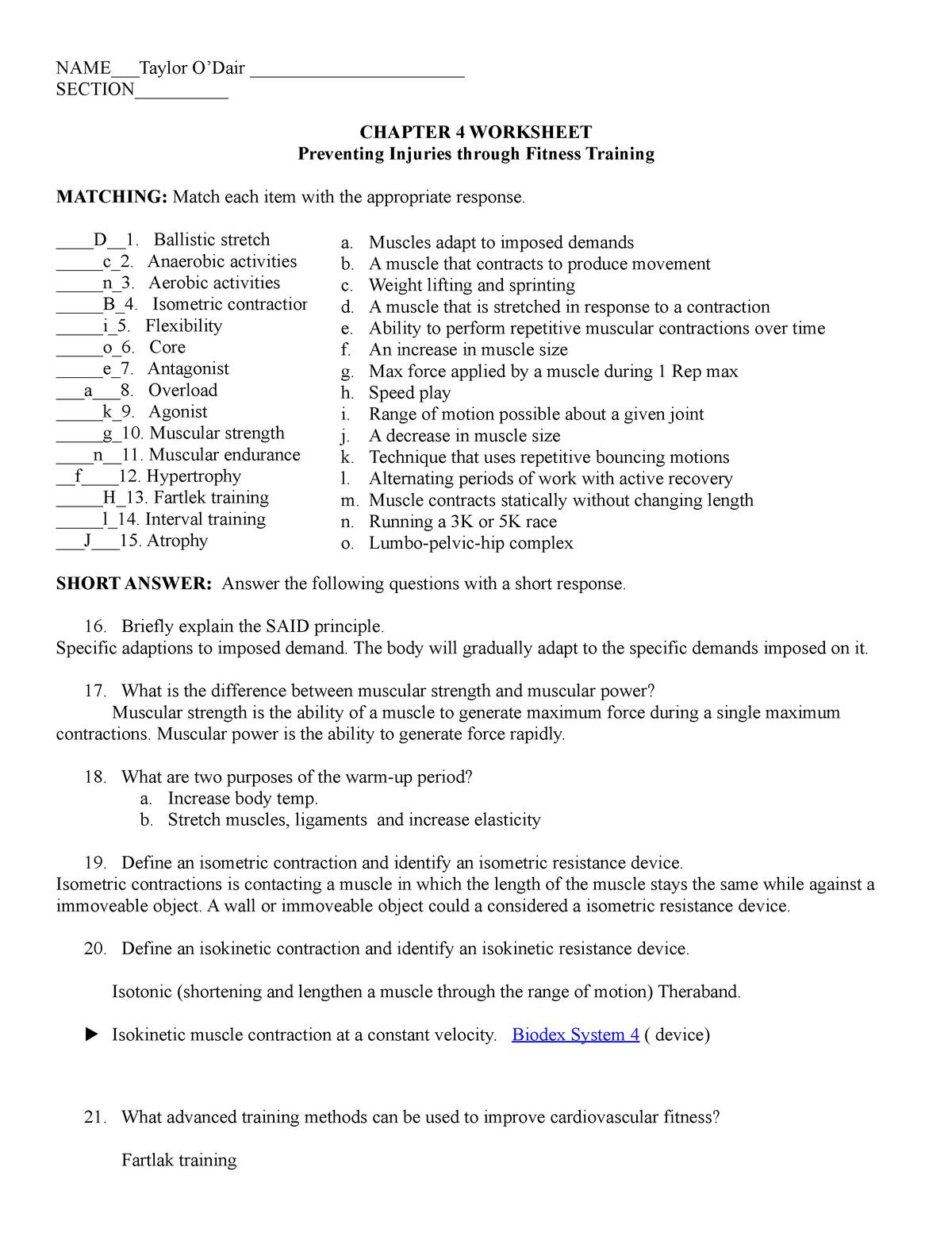 Chapter 4 sport medicine - HS349: Sports Medicine - StuDocu