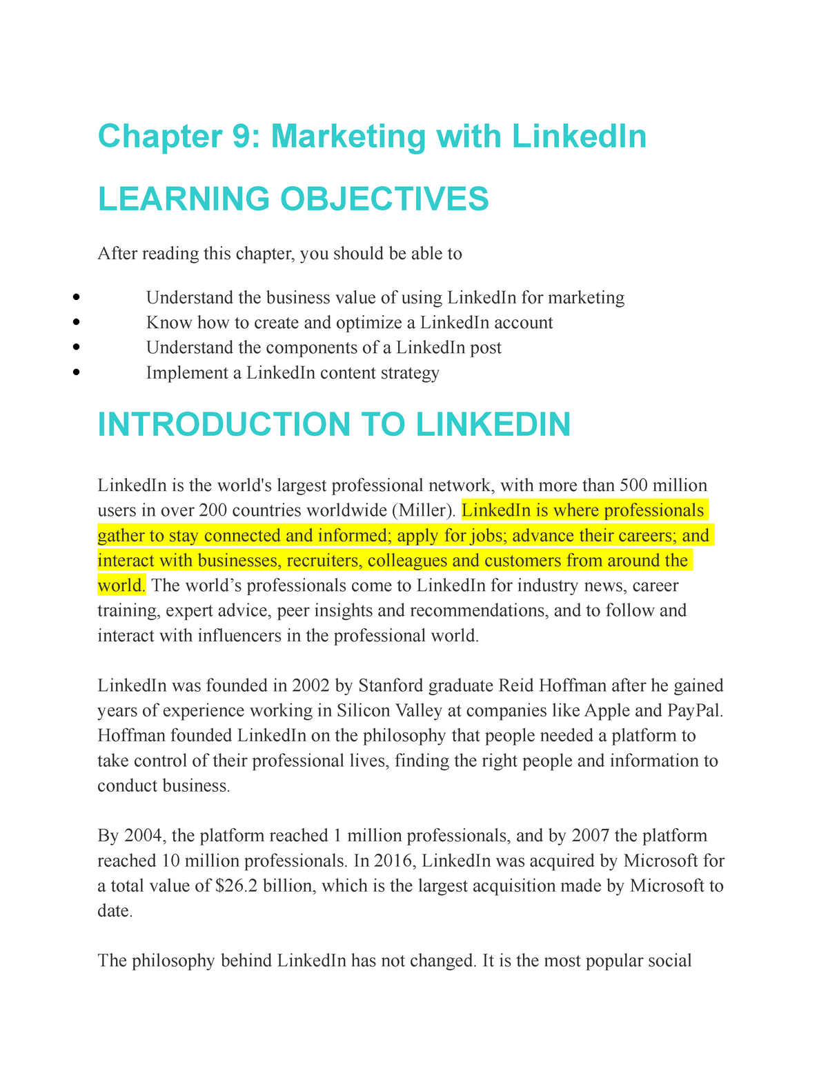 Chapter 9 - Marketing with Linked In - MKT 3320 : Social