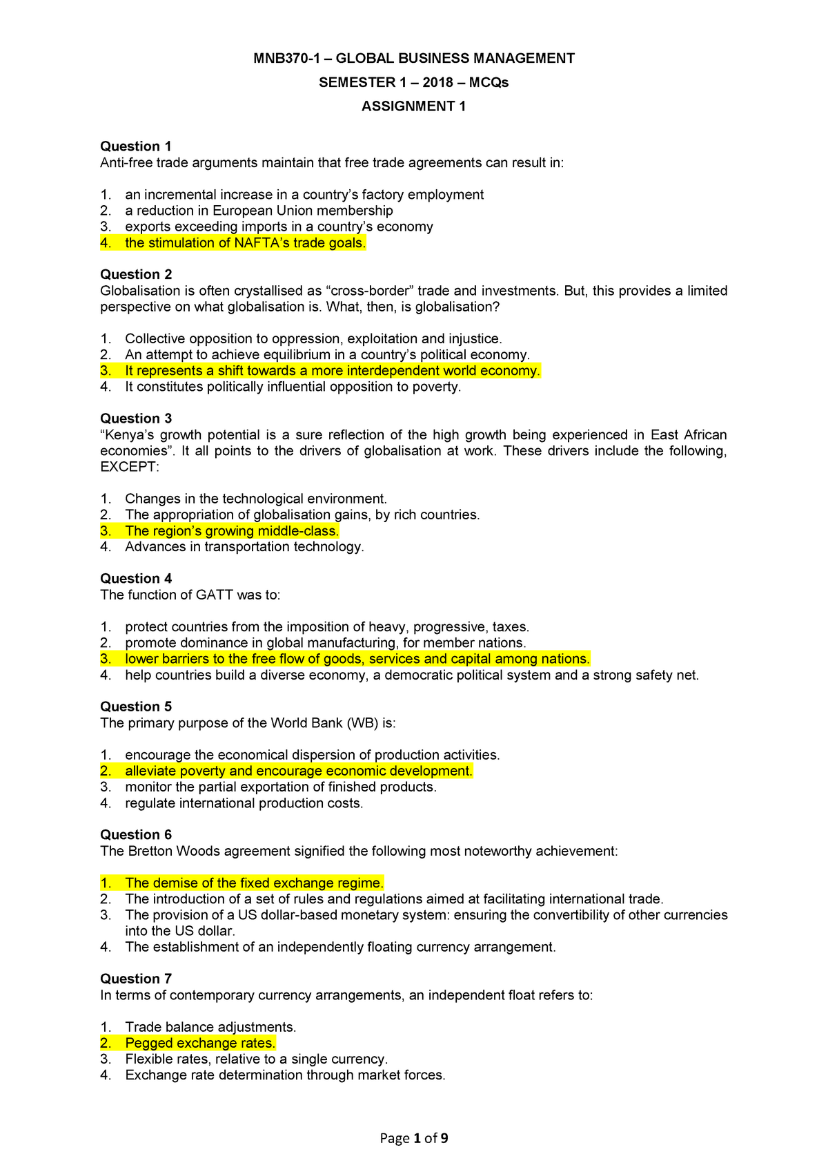 MNB3701 Assignment 1 3 MCQS - MNB3701: Global Business Management IA