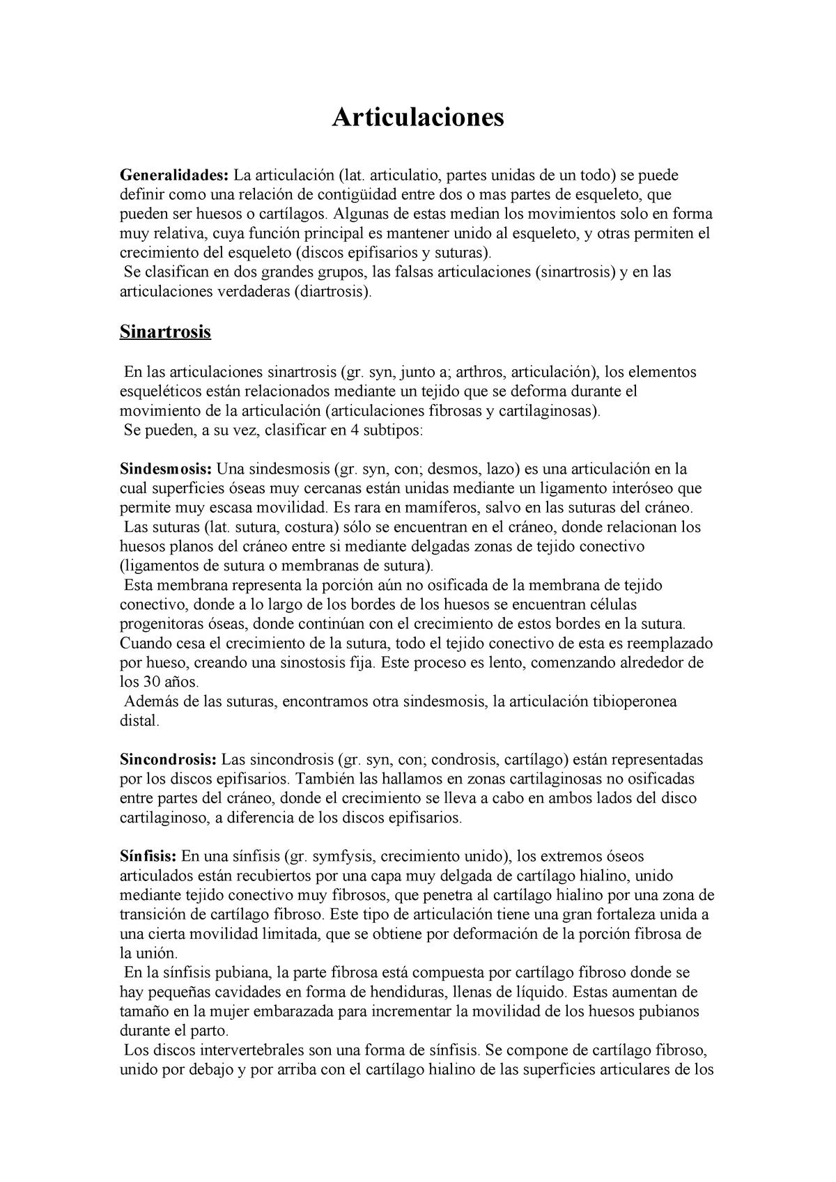 Diferencia entre las articulaciones fibrosas cartilaginosas y sinoviales