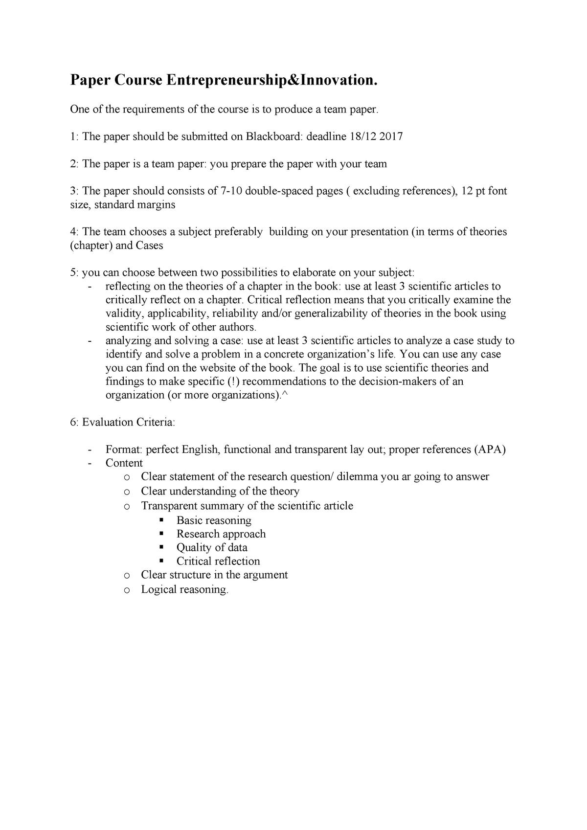 Memo final paper - 6012B0215Y: Entrepreneurship and