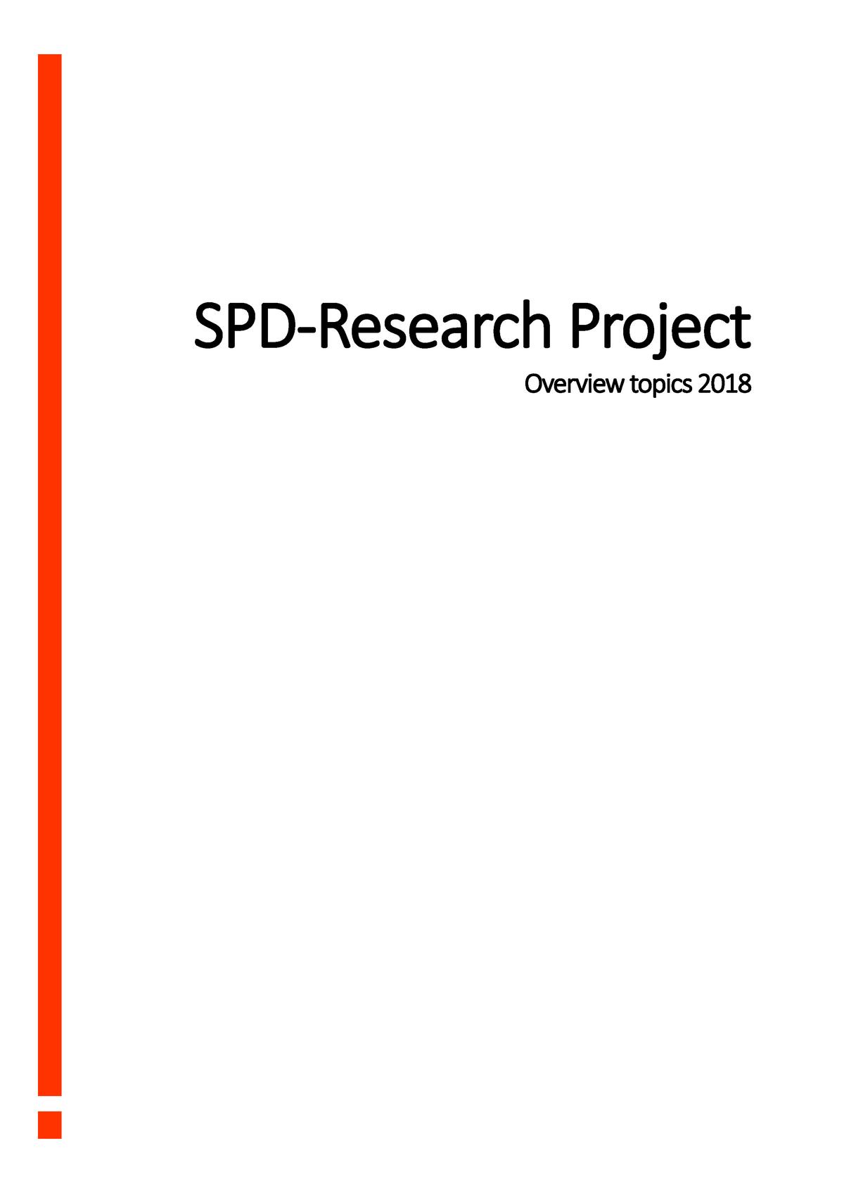 Overview topics 2018 - Research track beschrijvingen