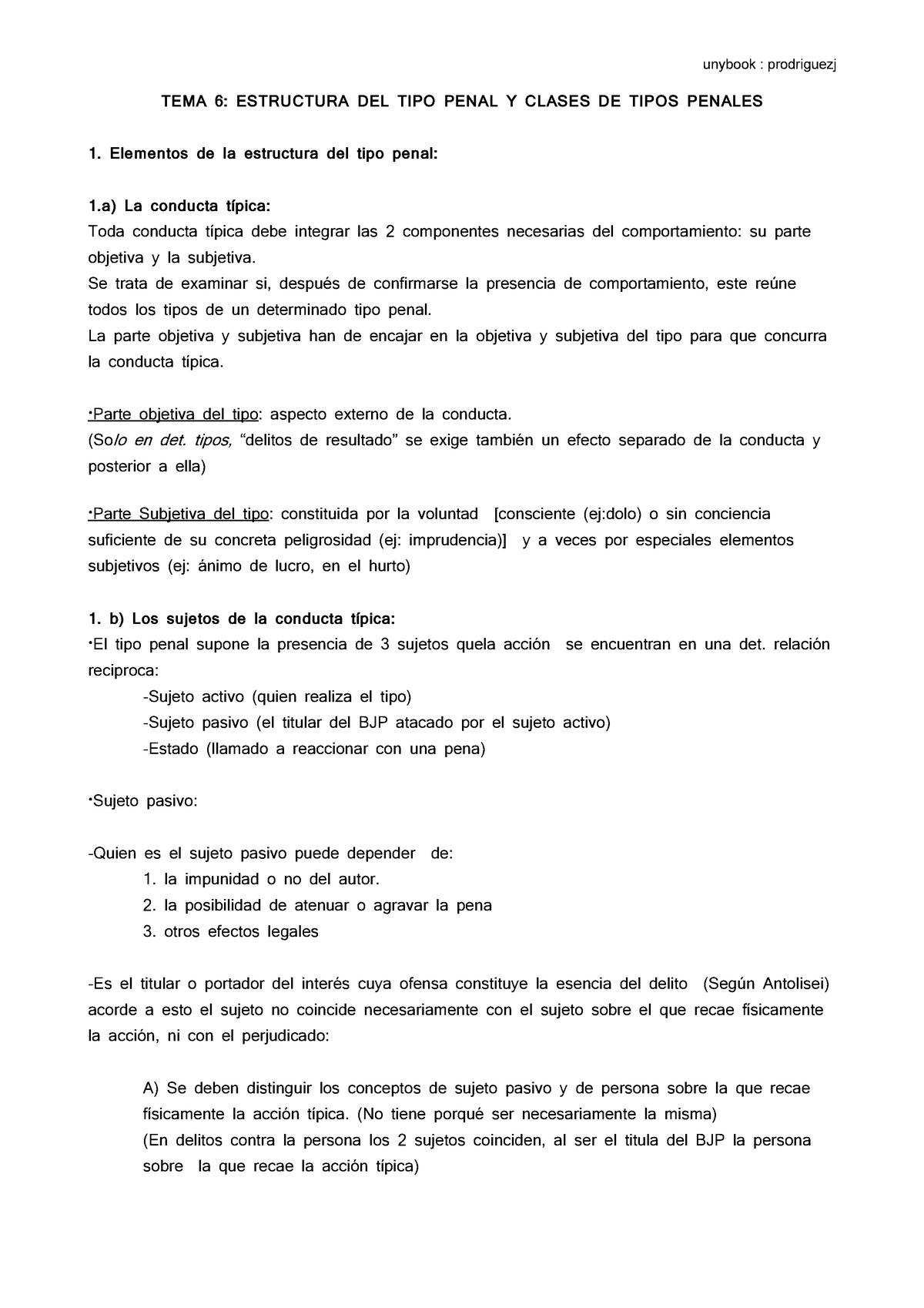 Tema 6 Estructura Del Tipo Penal Y Clases De Tipos Penales