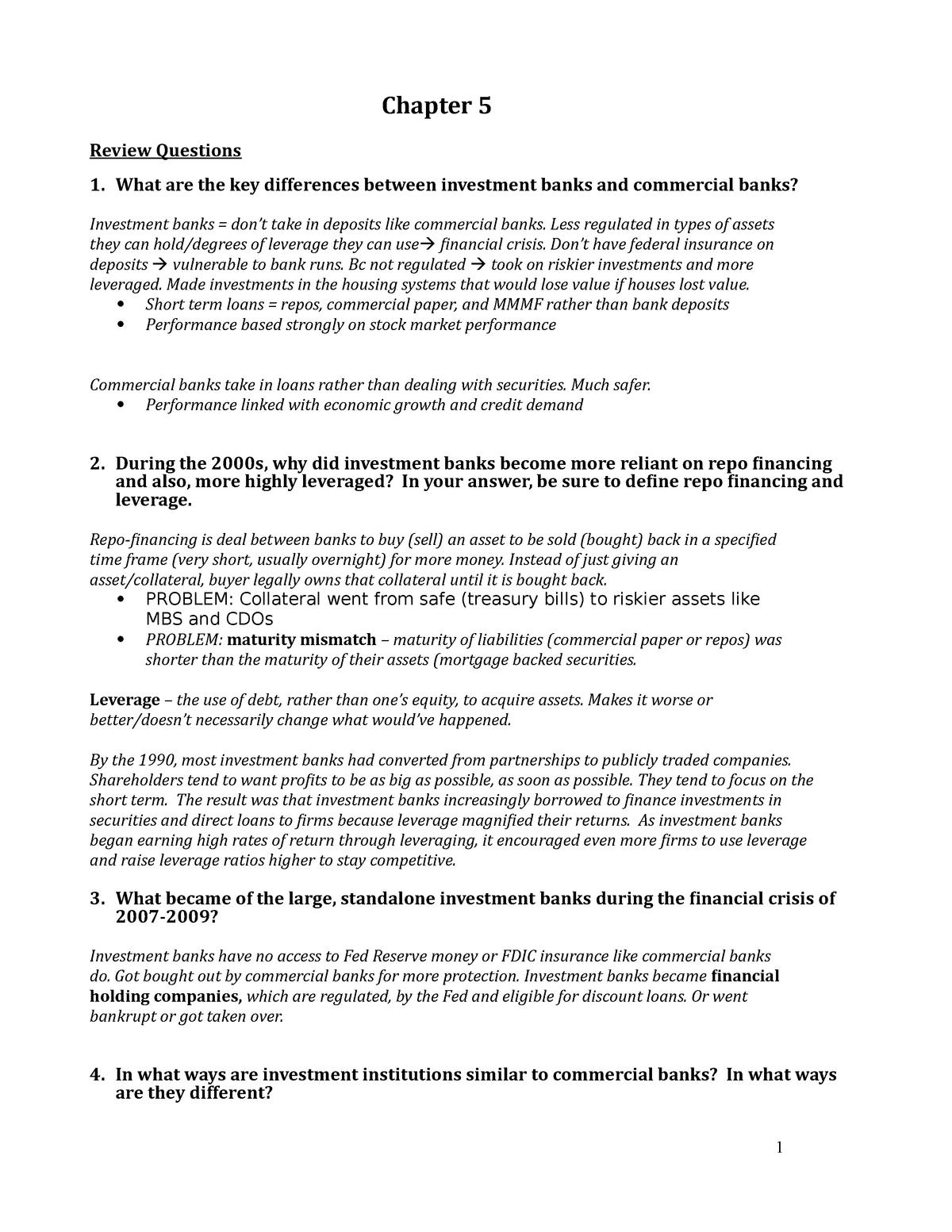 Financial Markets Chapter 5 Questions - FIN 3244: Financial