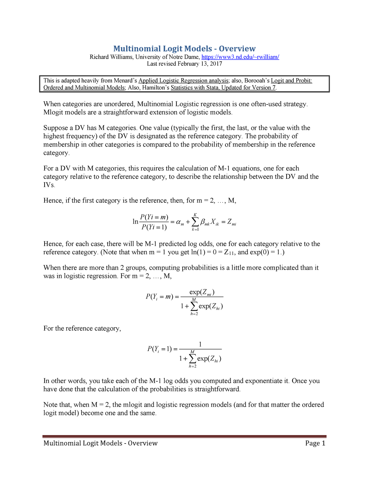 Multinomial Logit Models - Overview - Socio 73994