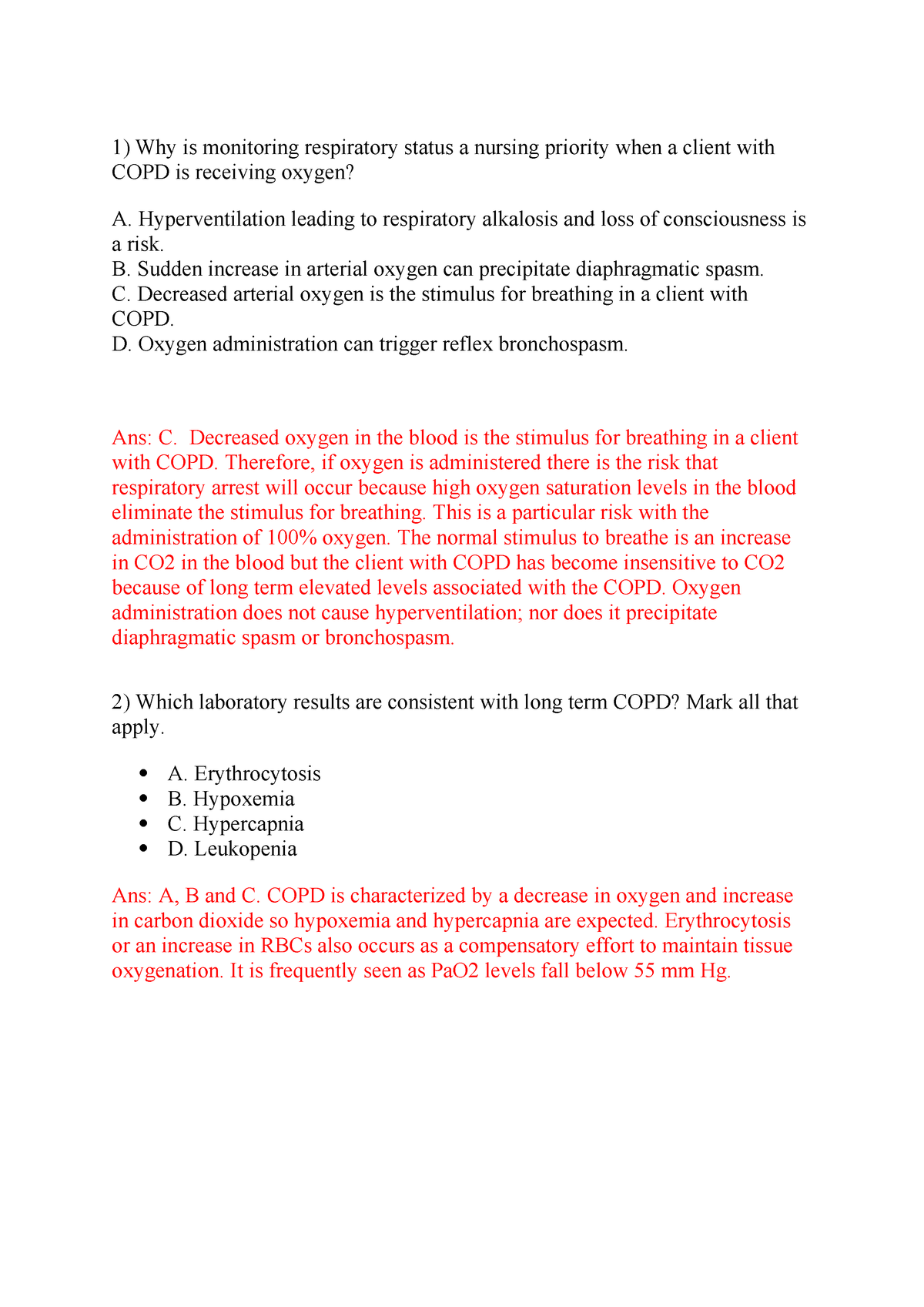 Week 2 , COPD - Quiz - 353: NRSG - StuDocu