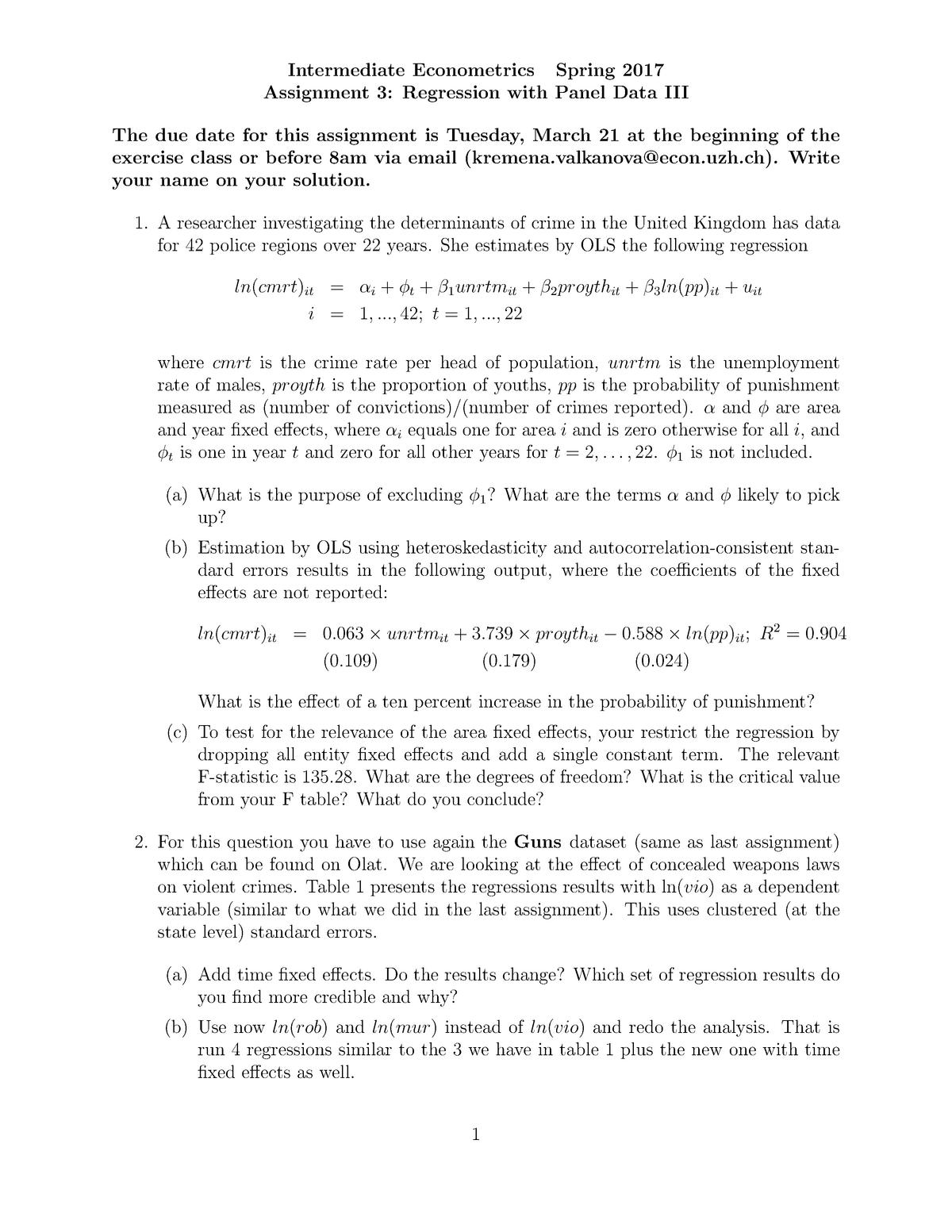 Problem set 3 - Übung 3 - Intermediate Econometrics - StuDocu