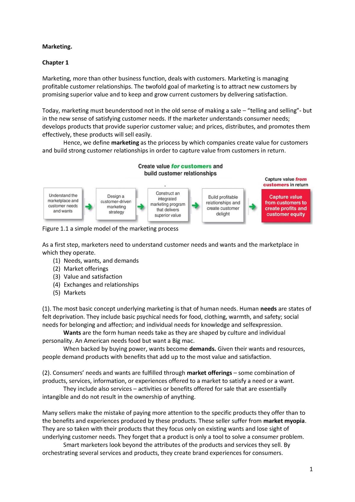 9654672b848 Summary Principles of Marketing, Pearson - chapter 1 - StuDocu