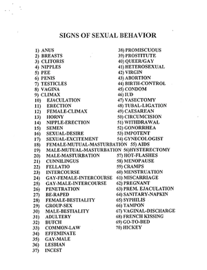 Sexual signs in asl