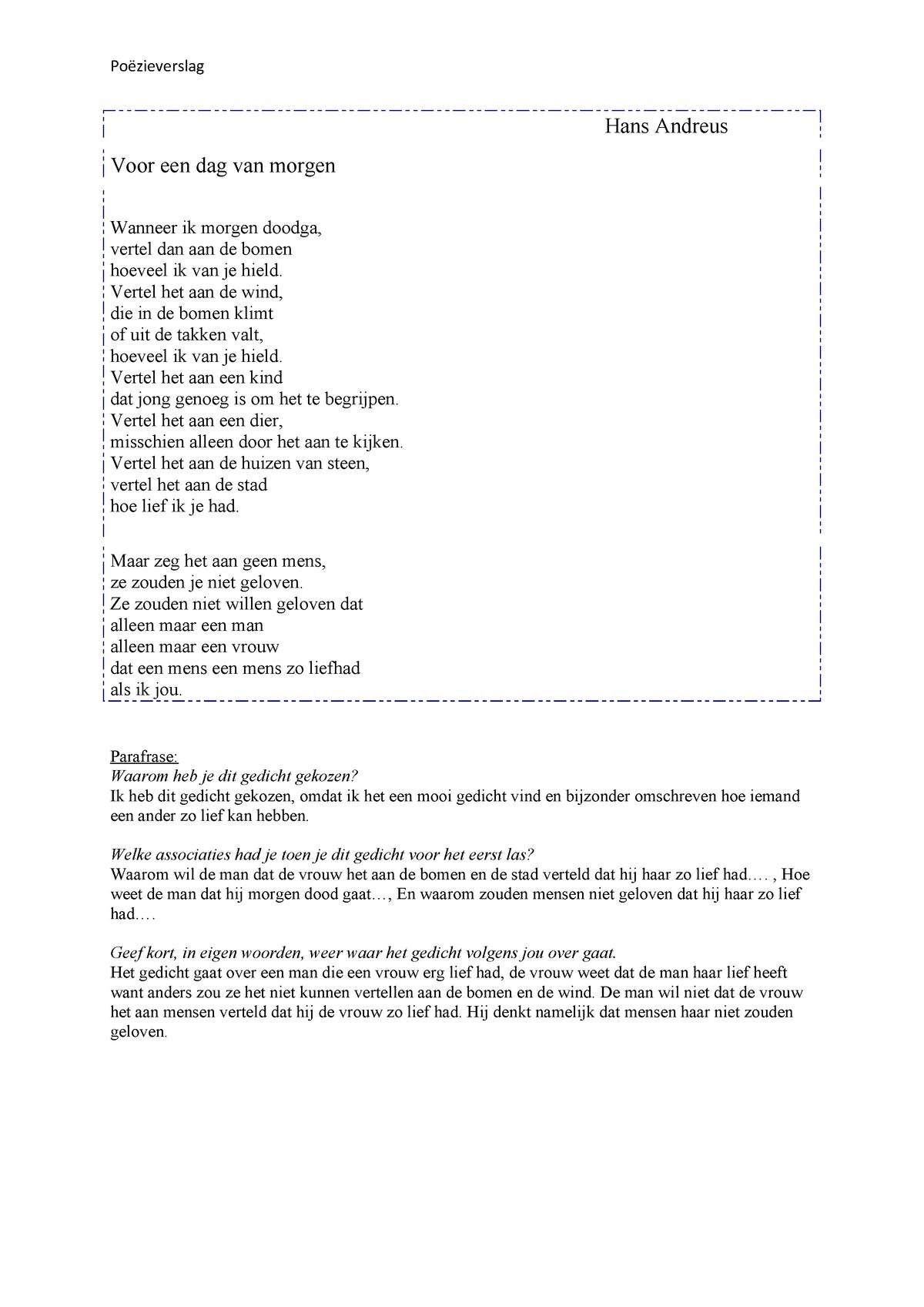 Poezieverslag Nederlands Nhl Stenden Studeersnel