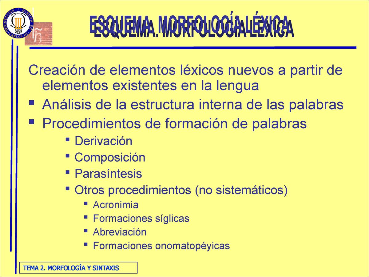 Diapositivas Tema 2 Morfología Y Sintaxis Lengua Española