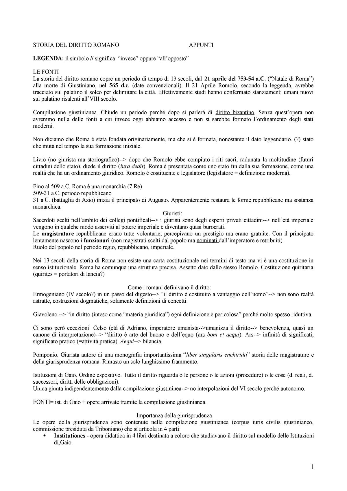 Riassunto Diritto romano 03 Dec 2018 - StuDocu