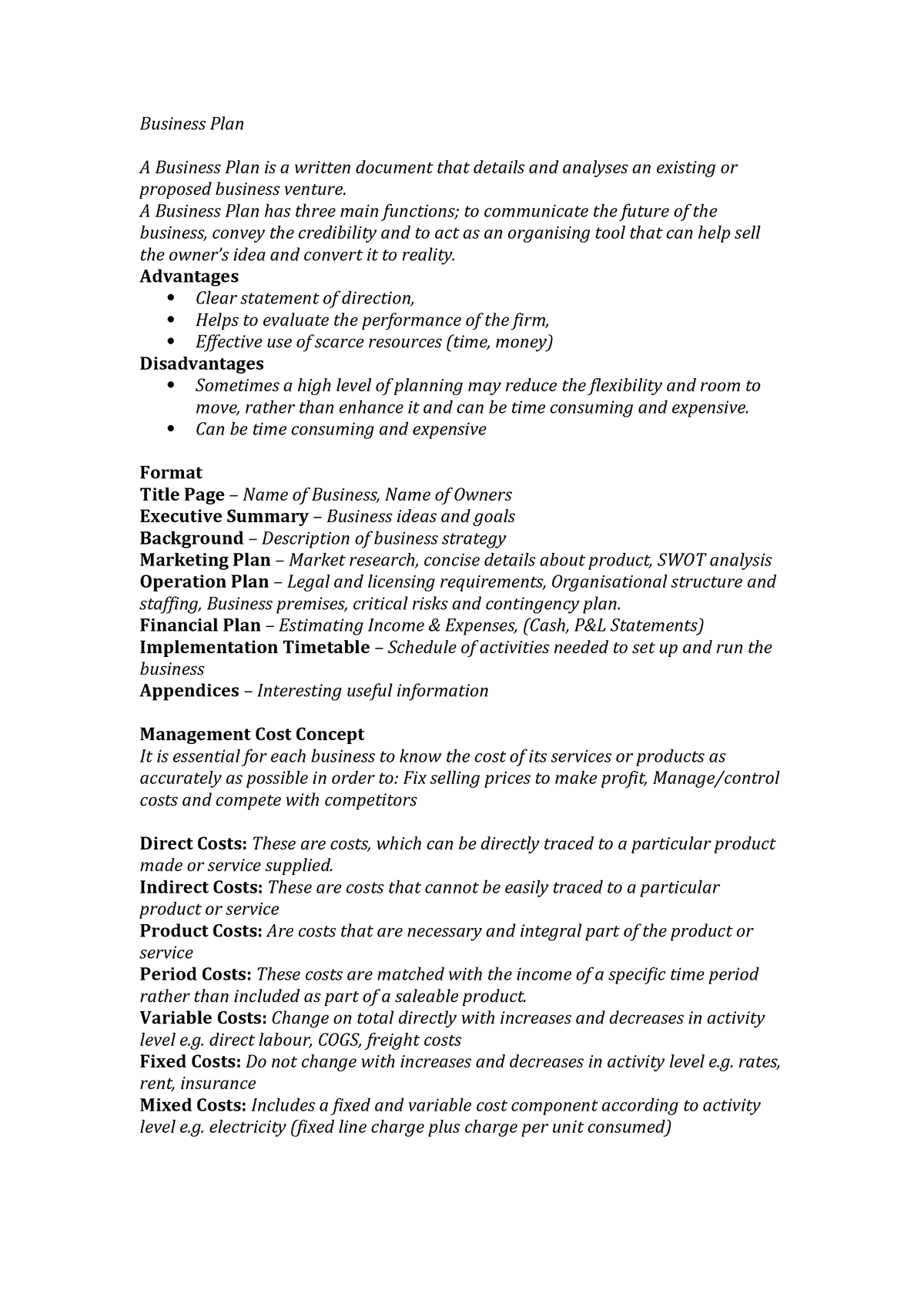 Lecture notes - notes, definitions and formulas for business