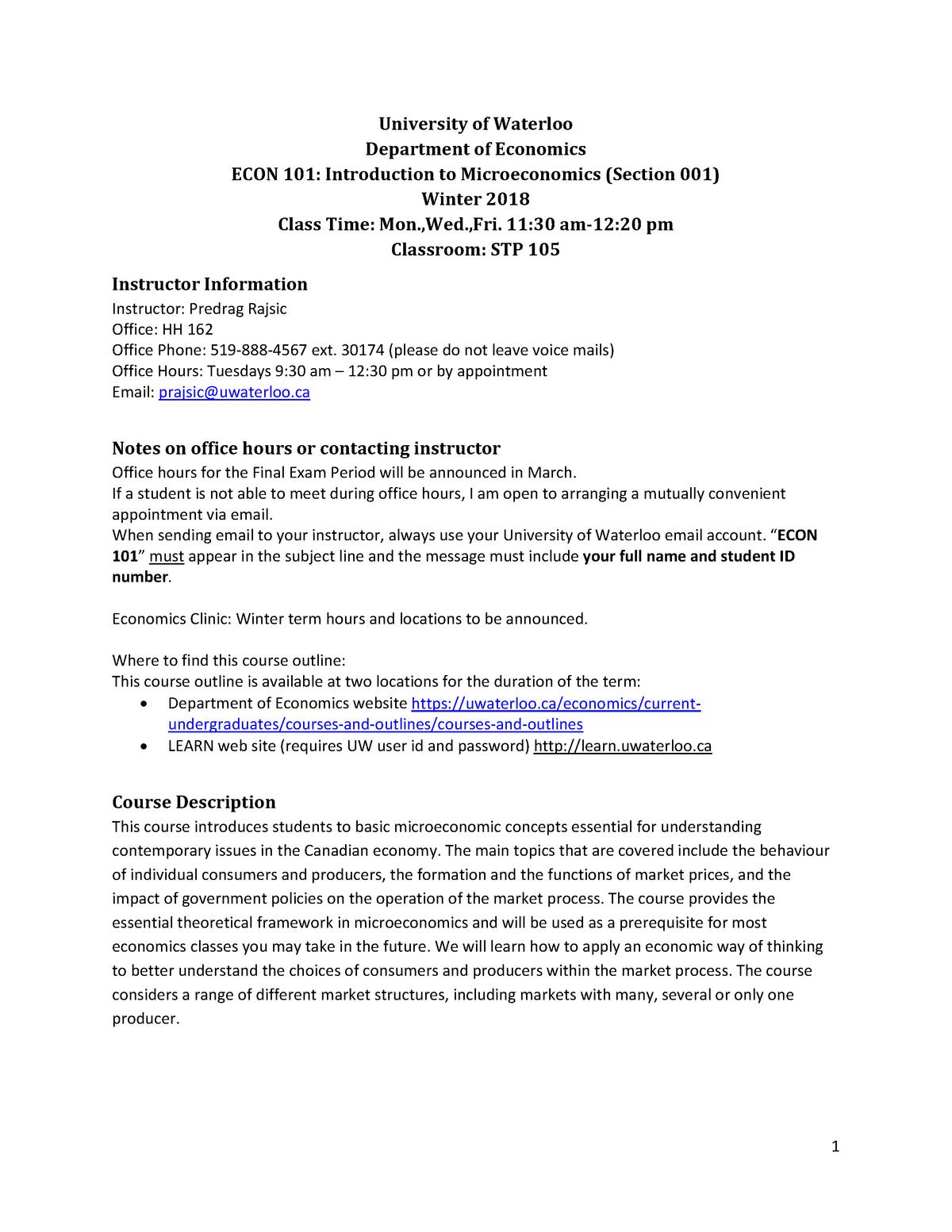 Econ 101 001 w18 - Econ 101: Intro to Microeconomics - StuDocu