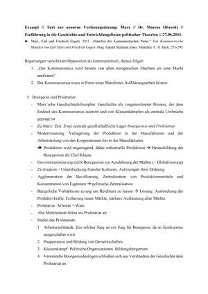 Exzerpt Zu Marx Zusammenfassung Einführung In Geschichte Und