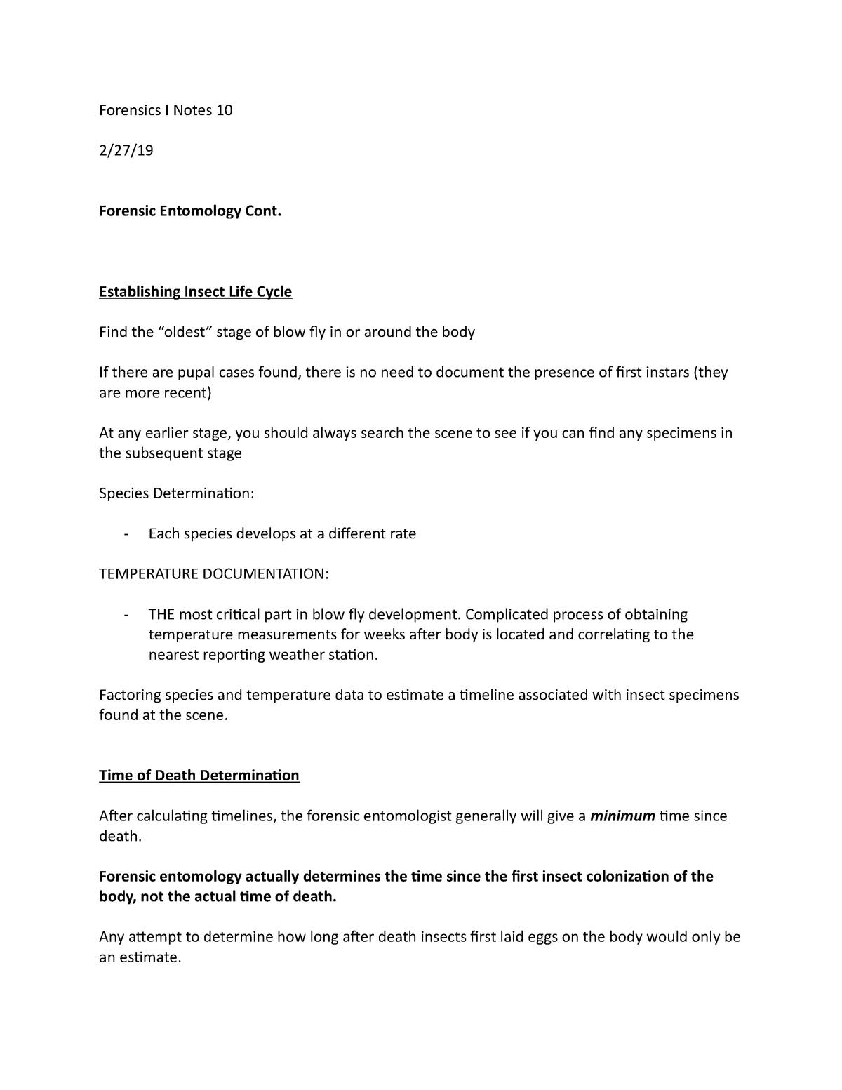 Forensics I Notes 10 - CRJU 4004: Criminal Forensics I - StuDocu