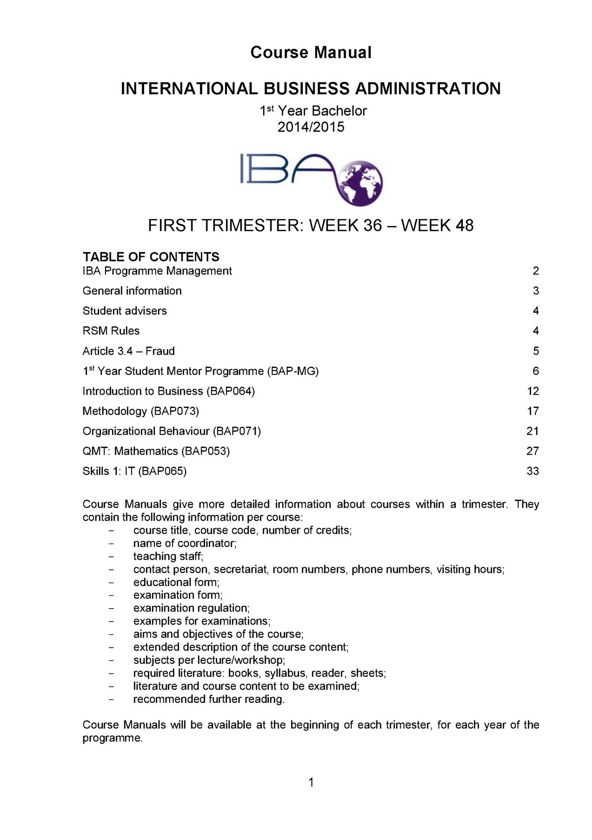 Course Manual IBA Bachelor 1 Trimester 1 2014-2015 Final