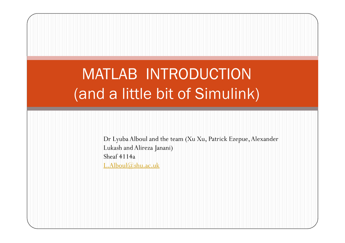 Matlab and Simulink Introduction 1516upd Intro Prog Week1