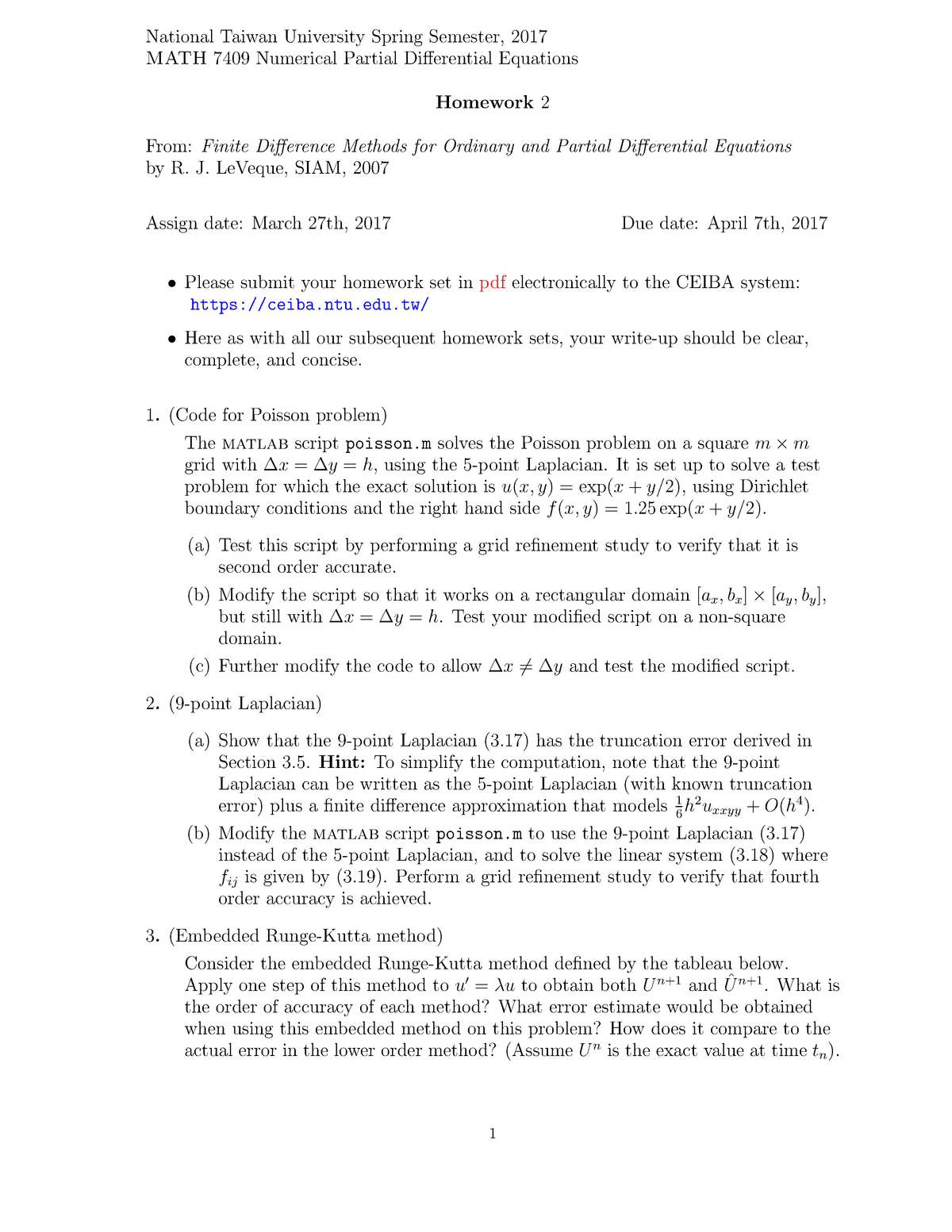 Npde hw2 - MATH 7409 Numerical Partial Differential