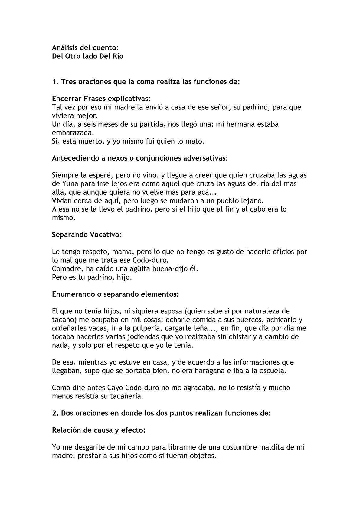 Análisis Del Cuento Lengua Española Básica I Let0110 Studocu