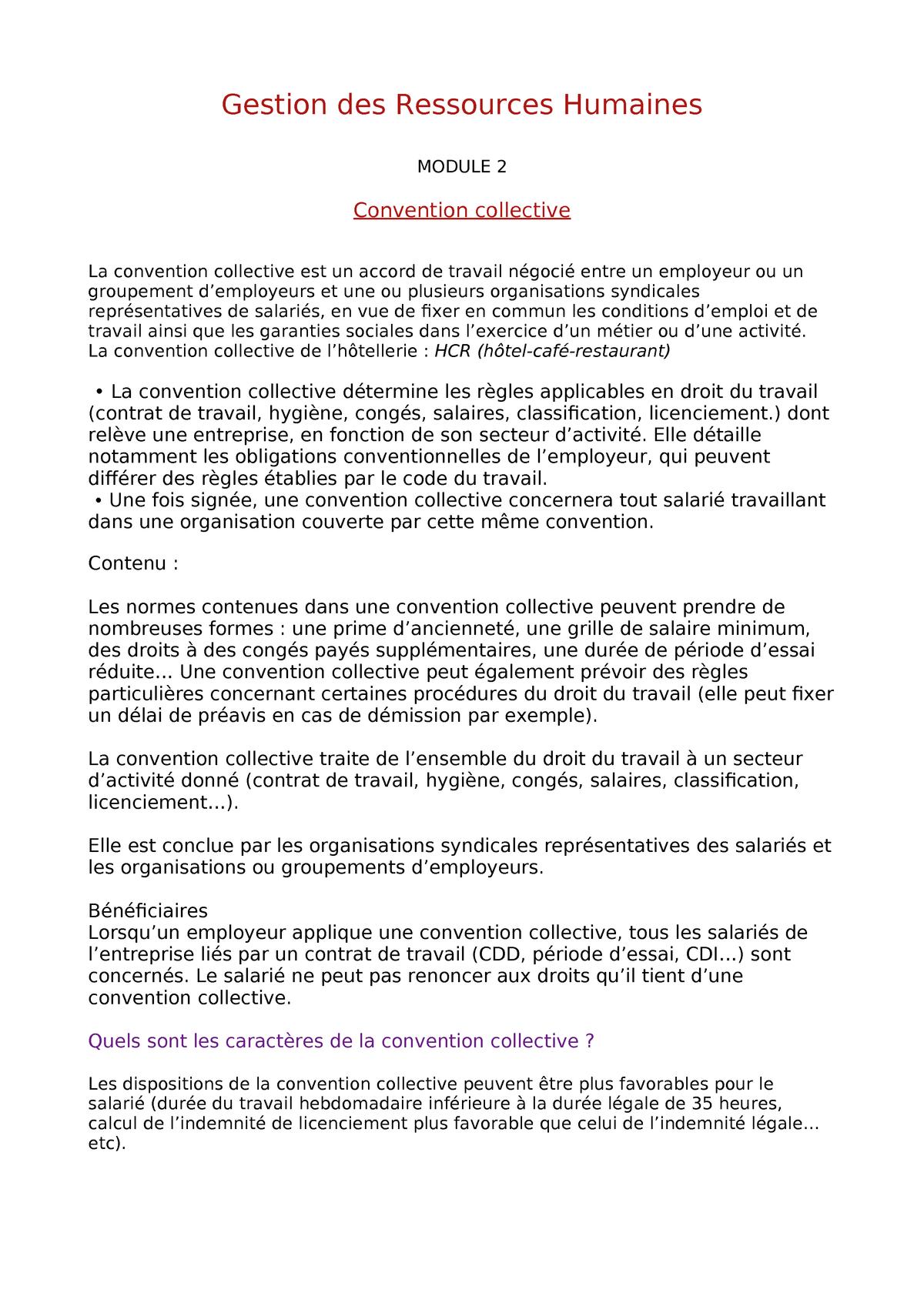 Grh Module 2 W Notes De Cours 2 Vatel Studocu