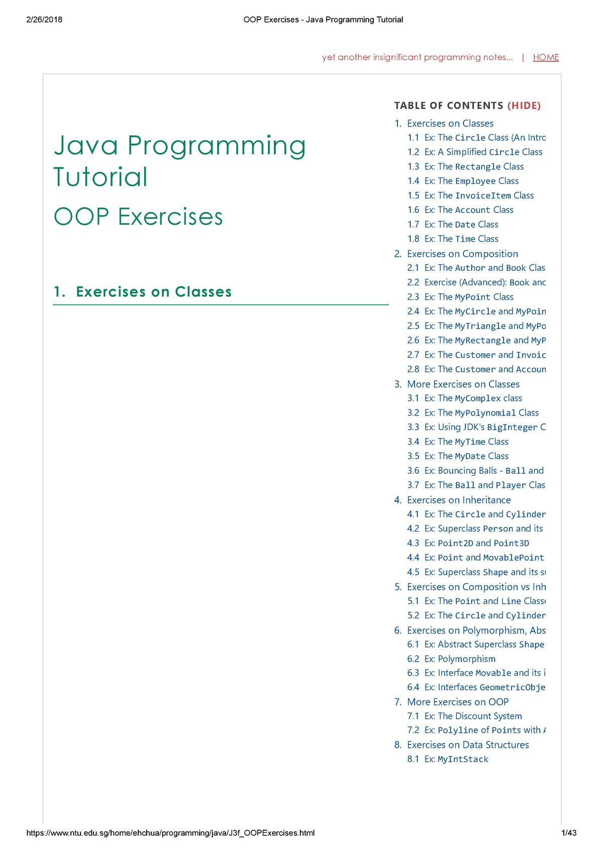 OOP Exercises - Java Programming Tutorial - SE - Fontys