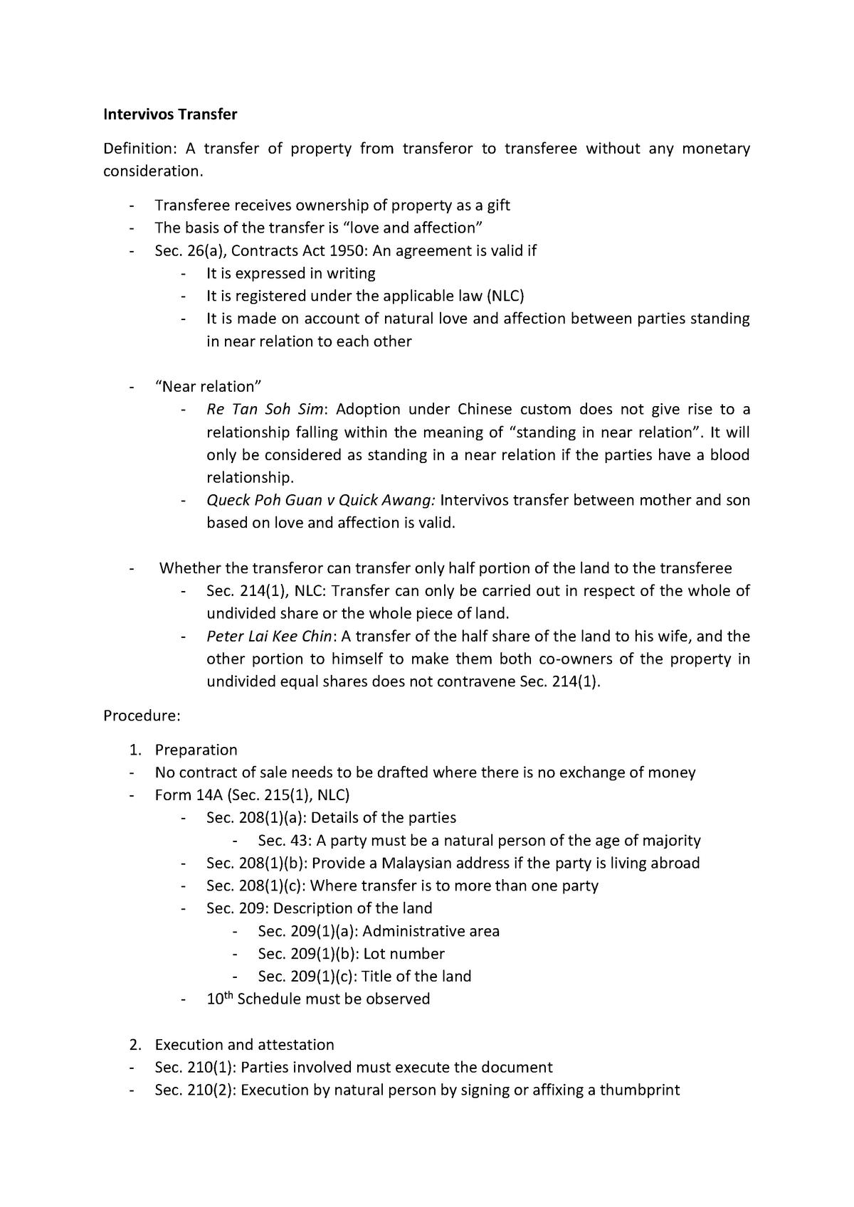 Law of Conveyancing - LAW512 - UiTM - StuDocu