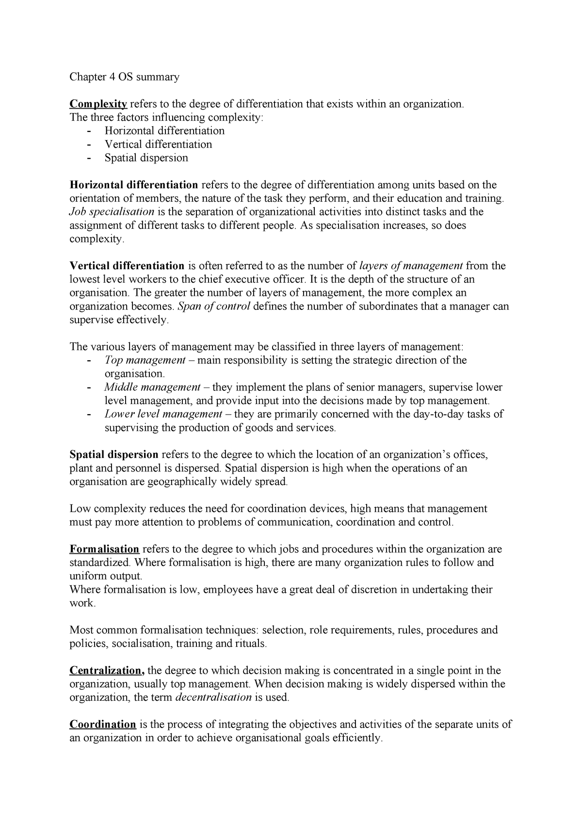 Chapter 4 OS summary - EBP670C05 - StudeerSnel nl