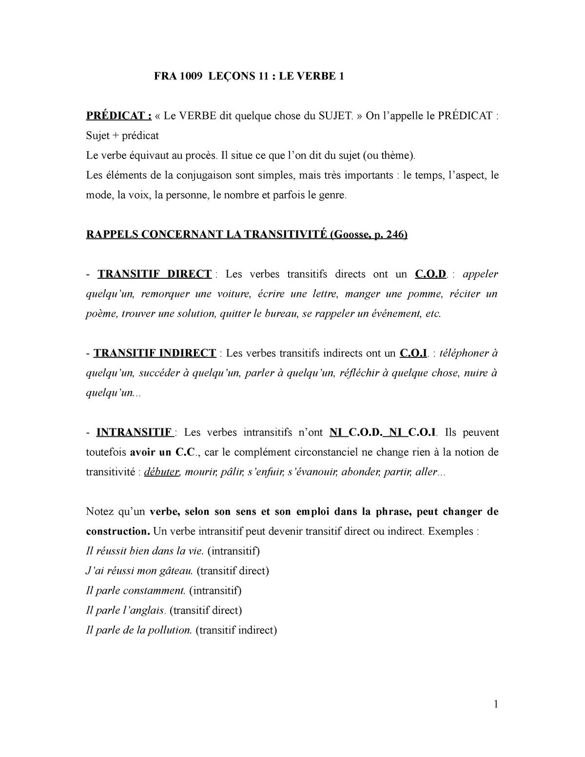 Cours 11 Verbe Fra1009 Grammaire Udem Studocu