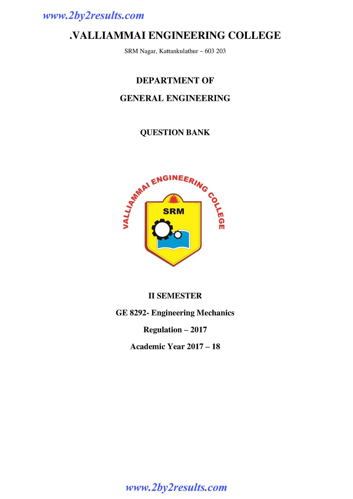 GE8292- Valliammal-Engineering Mechanics - GE6253 - StuDocu