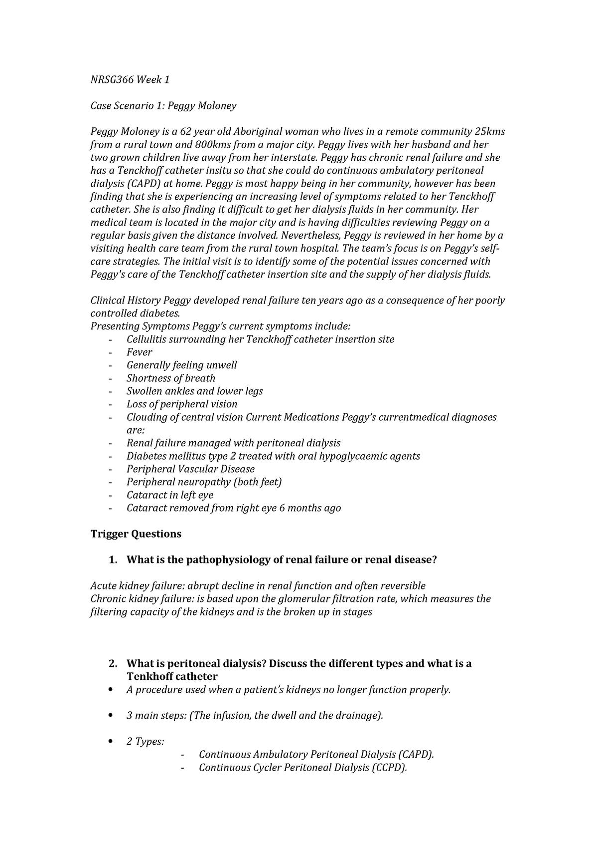 Week 1 Triggers - Case Scenario 1: Peggy Moloney - NRSG366