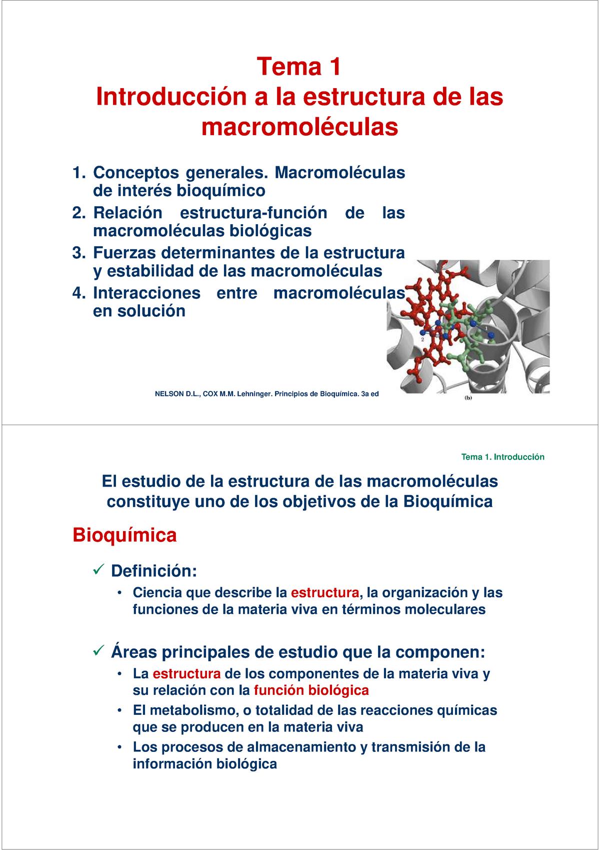 Tema 1 Tema 1 Estructura Y Función De Macromoléculas