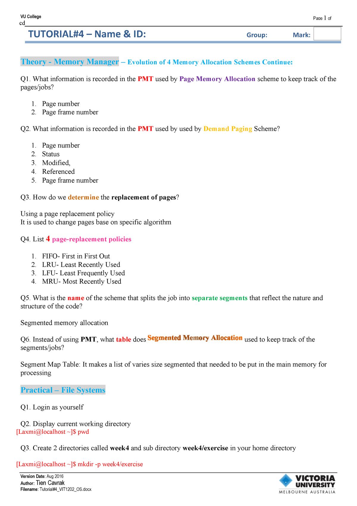 Week 4 Tutorial 4 - NIT1202: Operating Systems - StuDocu