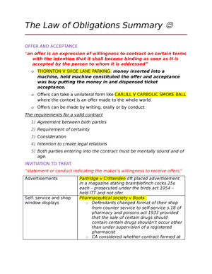 Lecture Notes Full Package Of The Law Of Obligations LAWS - Legal contract maker