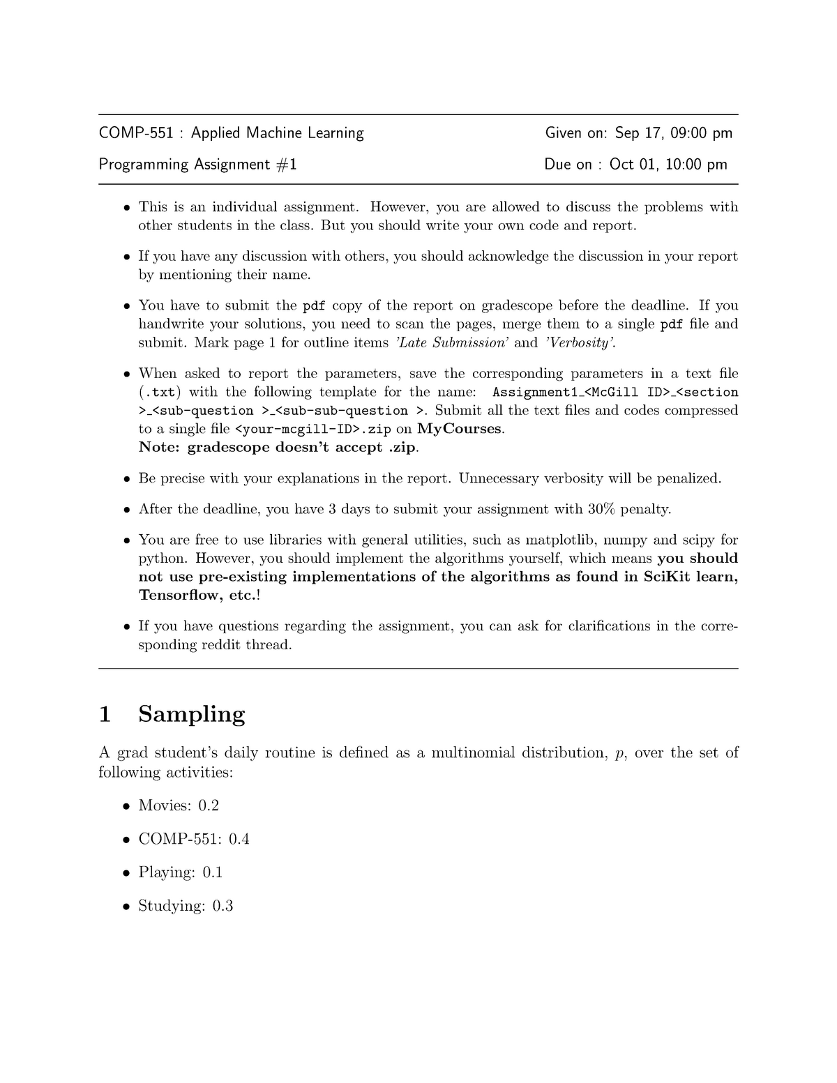 COMP 551 hwk1 - Assignment on implementing gradient descent