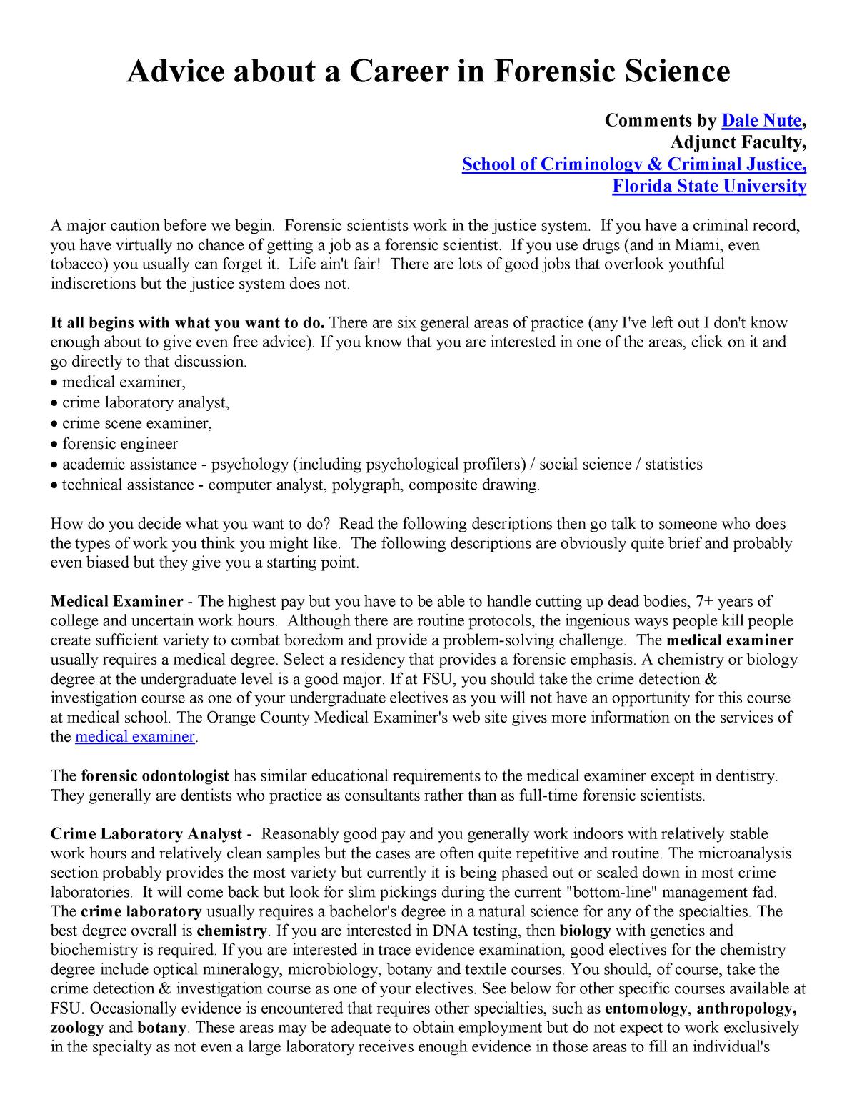 Career Advice Forensic Science Med4054 Studocu