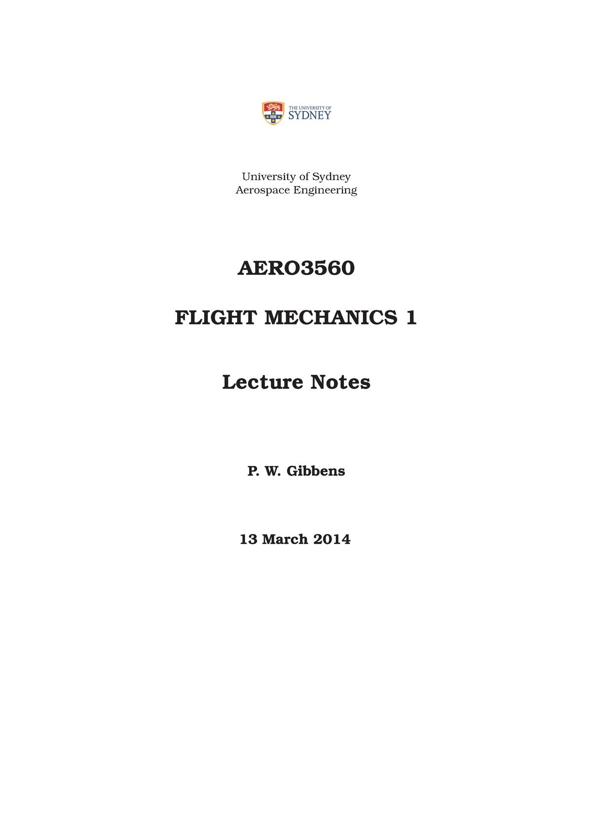 Summary - aero3560 - course notes 2015 - Flight Mechanics 1