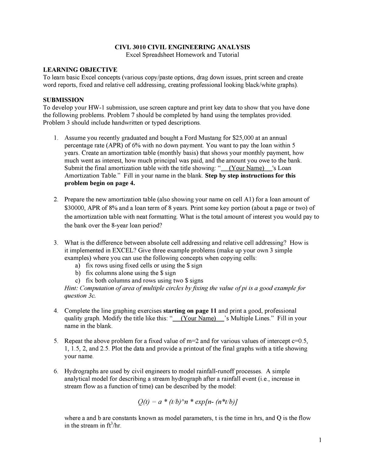 Civil 3010 spreadsheet homework and tutorial - ENGR 2070