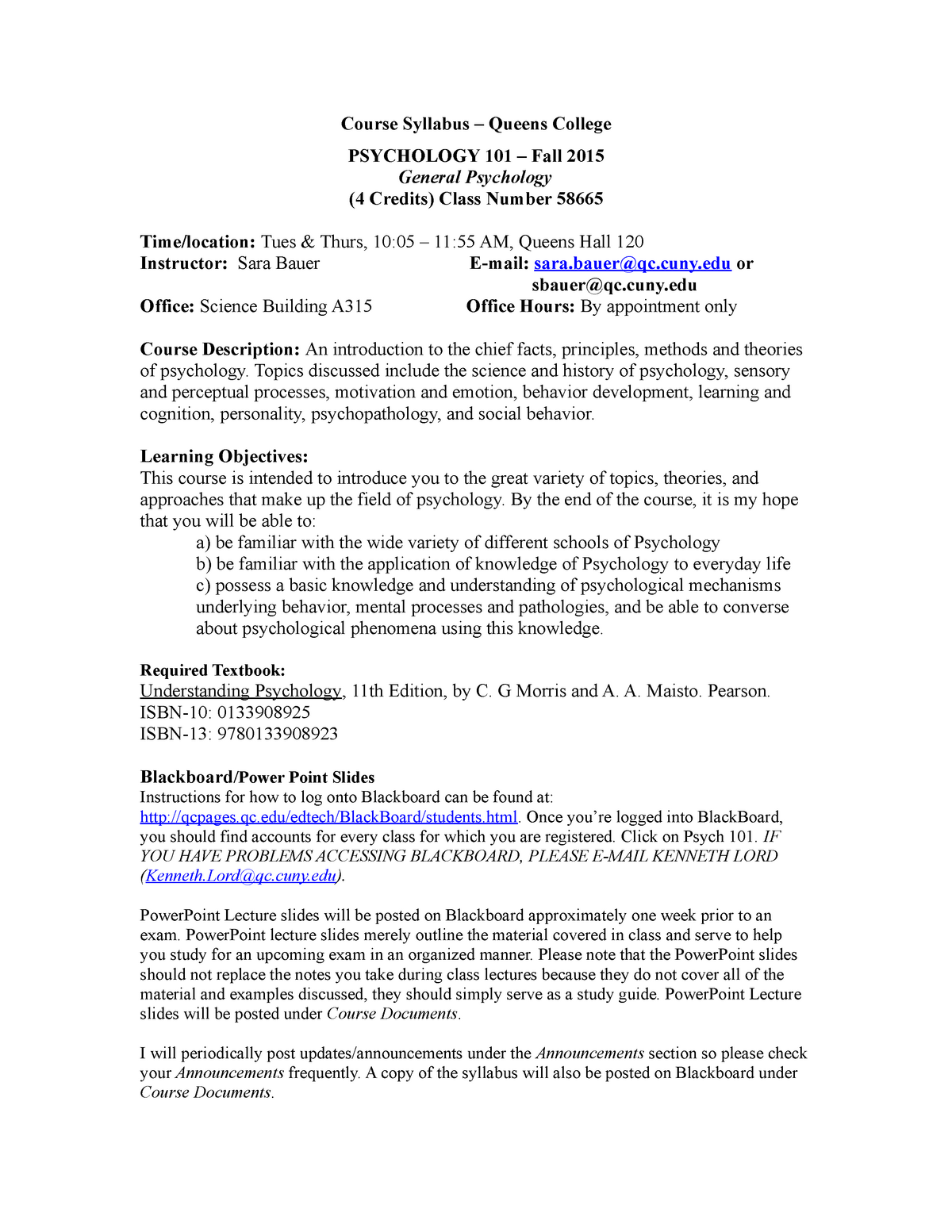 Psych 101 Syllabus Fall 2015 - revised - PSYCH 101: General