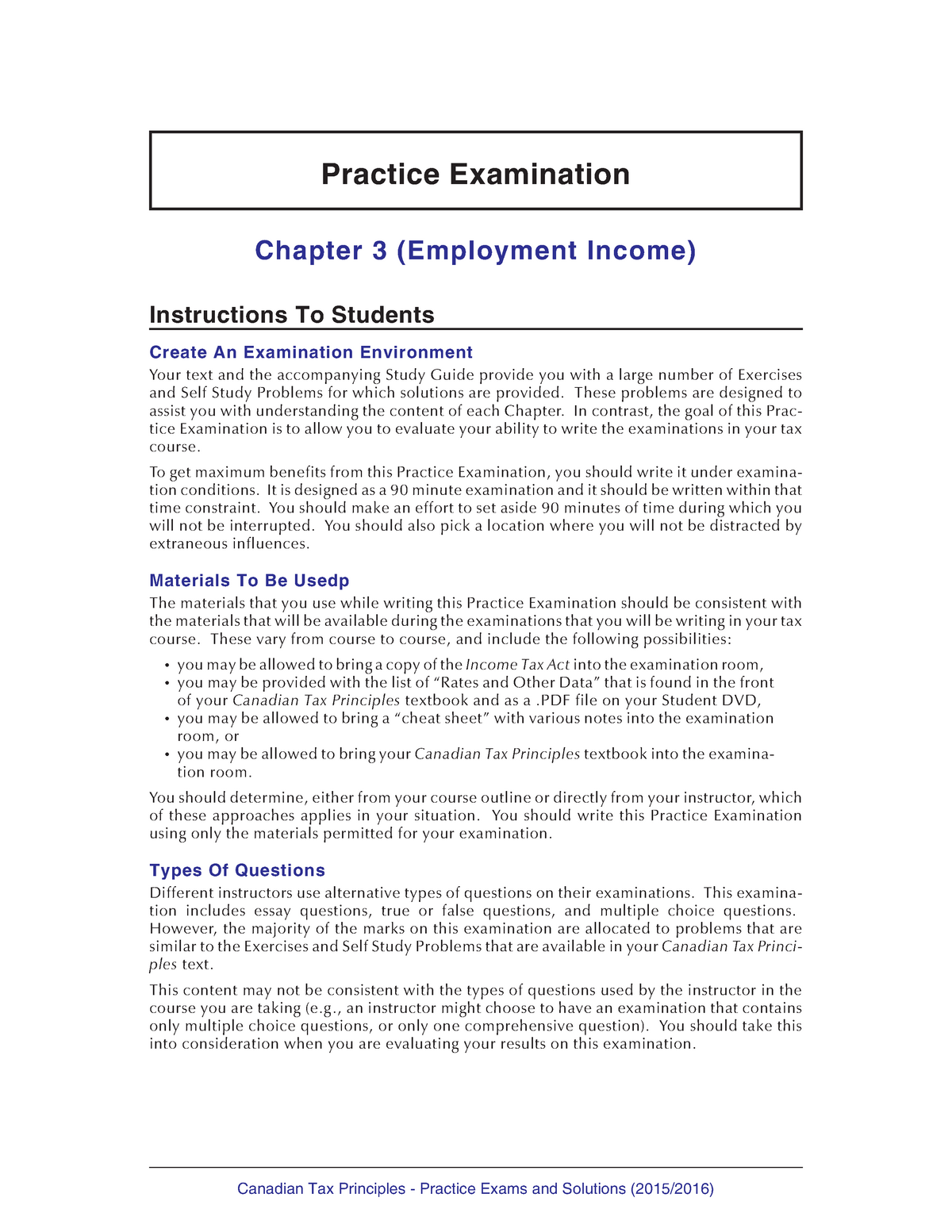Sample/practice exam 2015, questions and answers -for