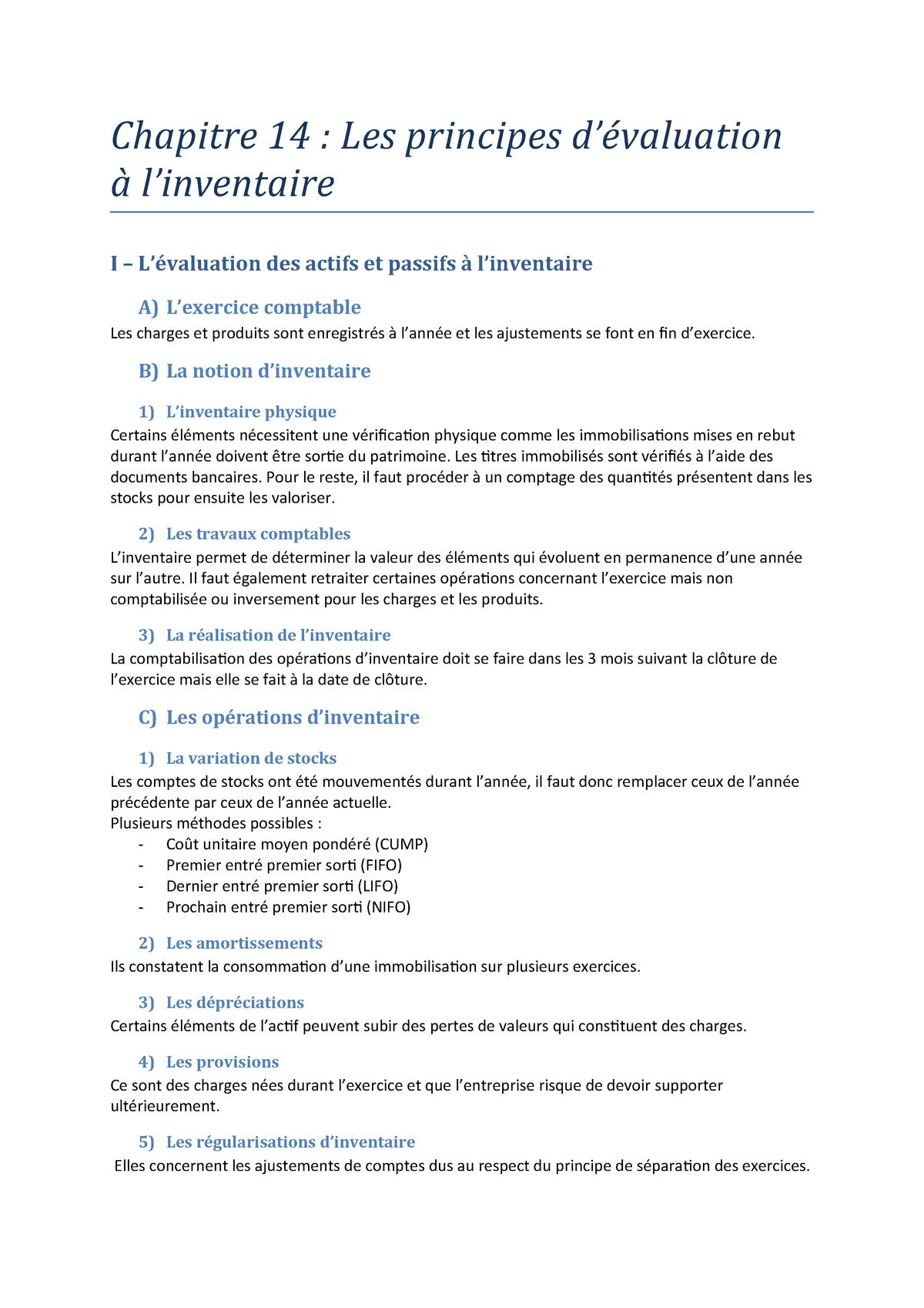 Chapitre 14 Les Principes D Evaluation A L Inventaire