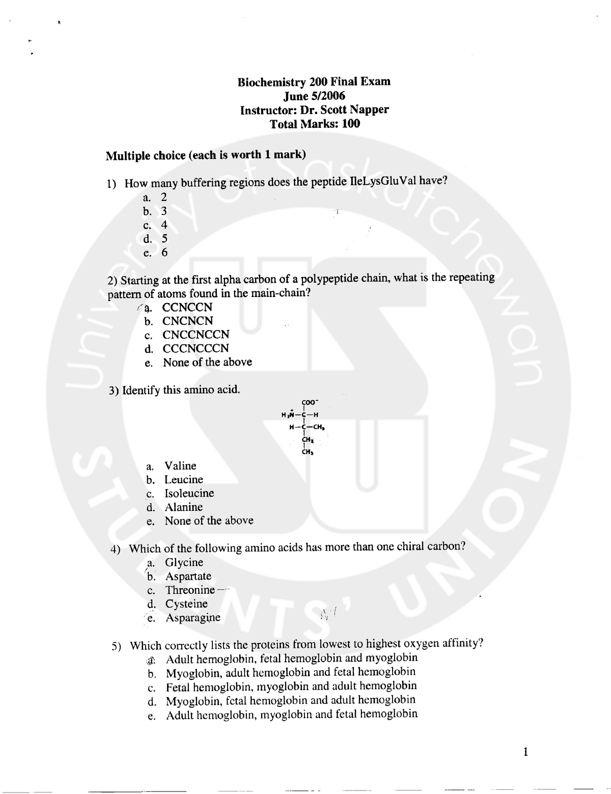 Biomolecules Exam 2006, questions and answers - Bmsc 200 3