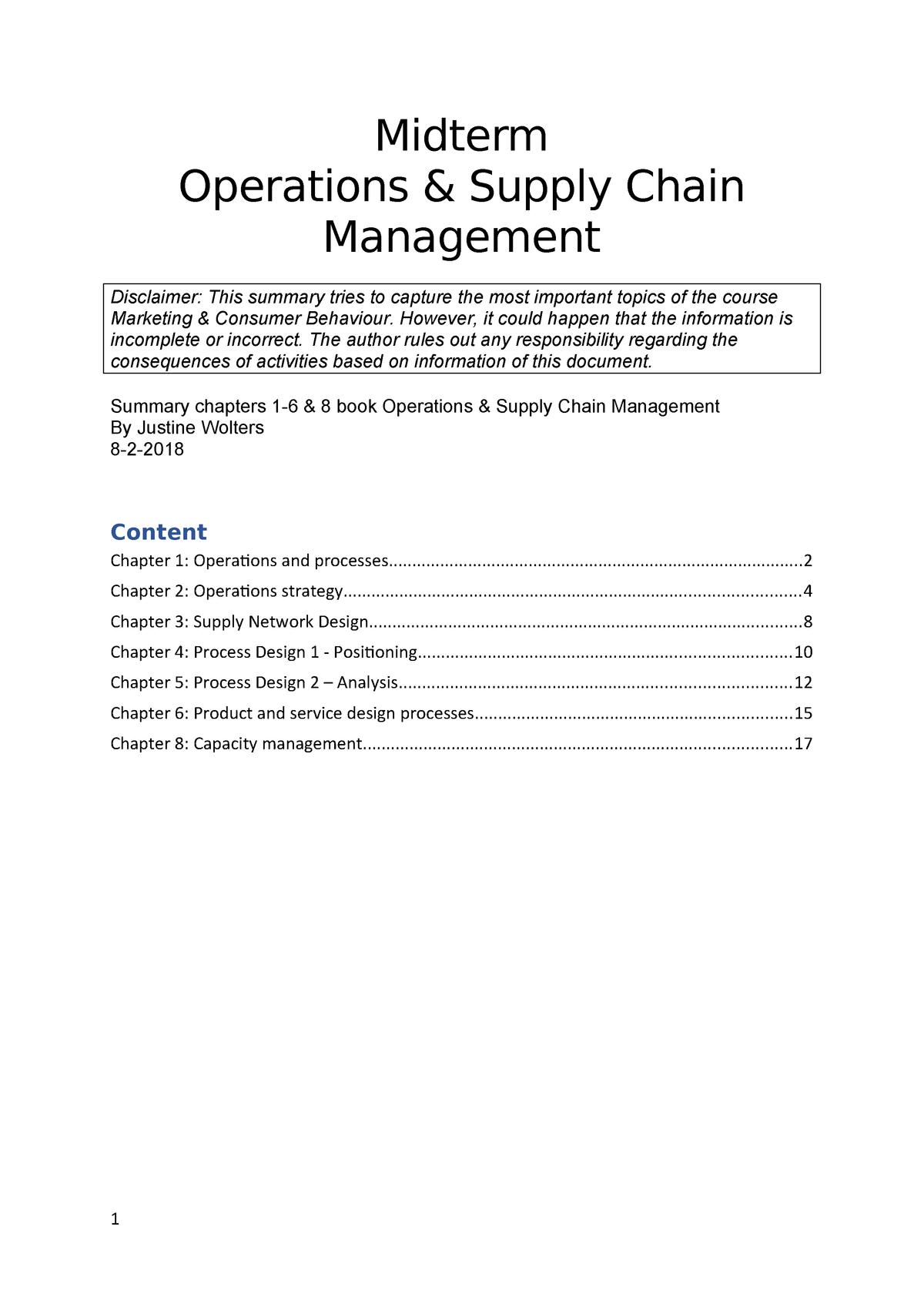 Summary OSCM - Operations & Supply Chain Management
