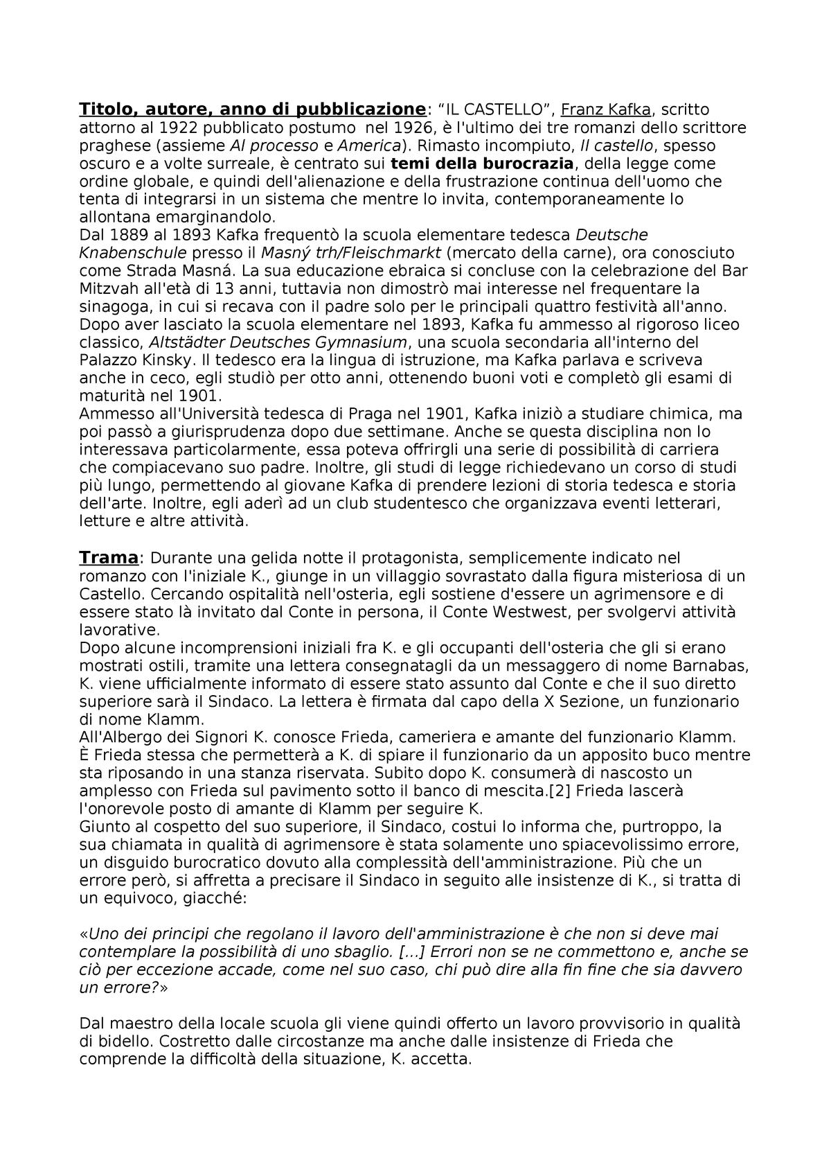 Kafka - Castello - Riassunto ben fatto con a seguito analisi
