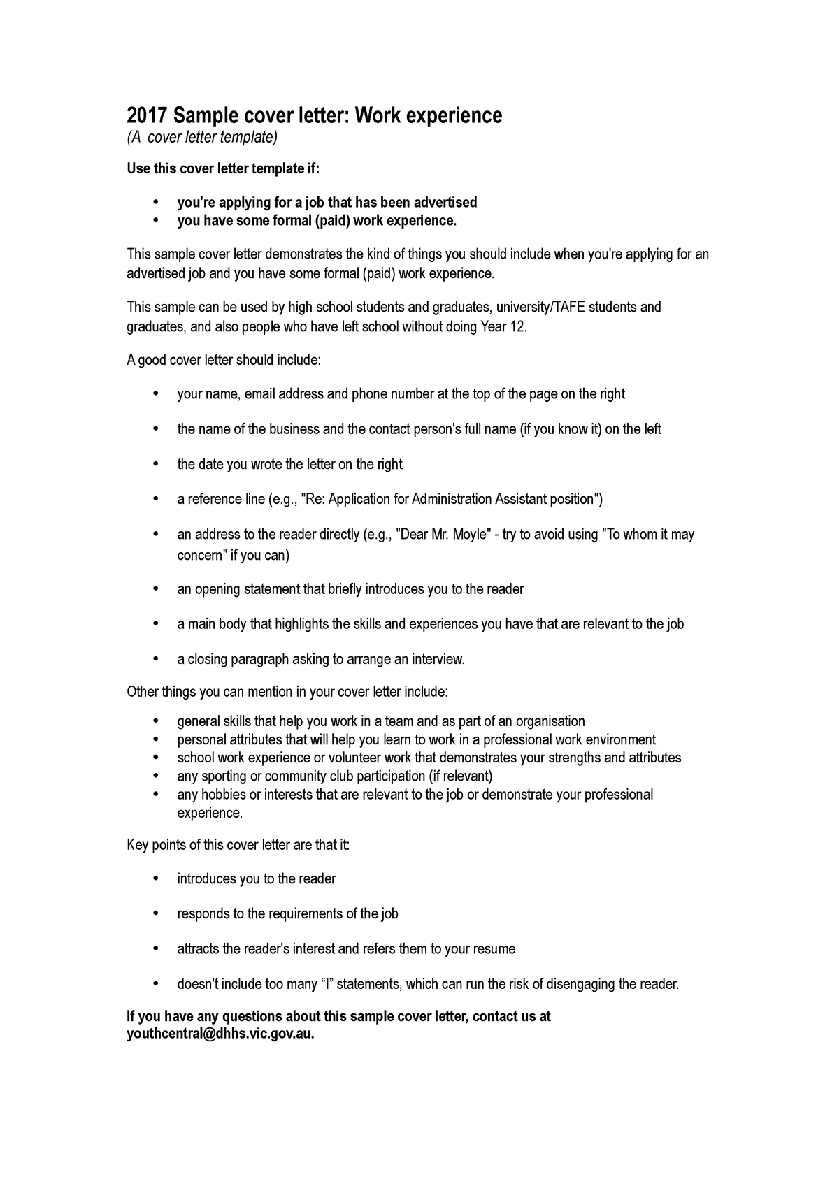 Cover Letter Work Experience 2017 Sample Cover Letter Work Experience Cover Studocu